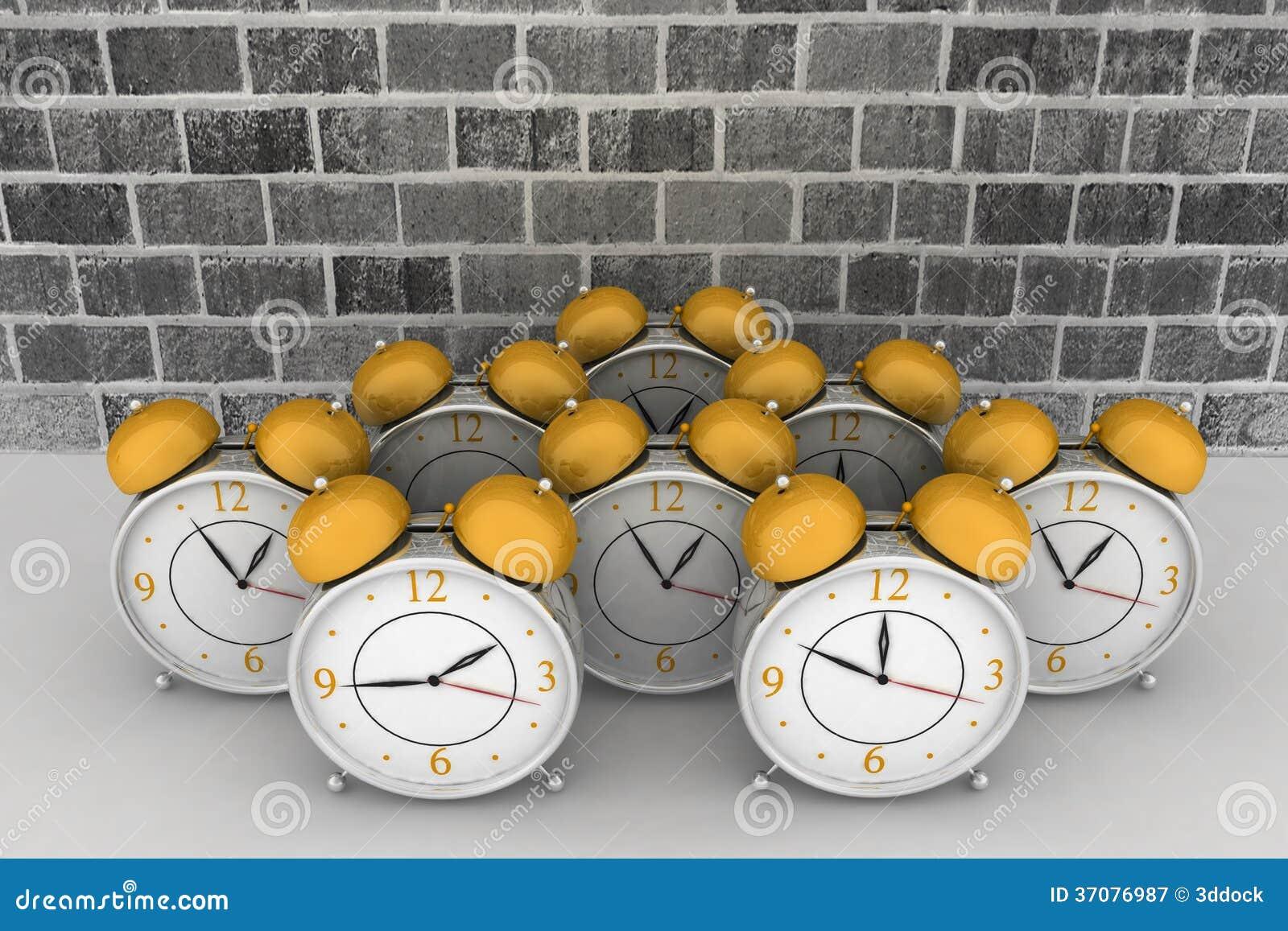 Download Ściana Z Cegieł Tło Z Budzikami Ilustracji - Ilustracja złożonej z okrąg, godzina: 37076987
