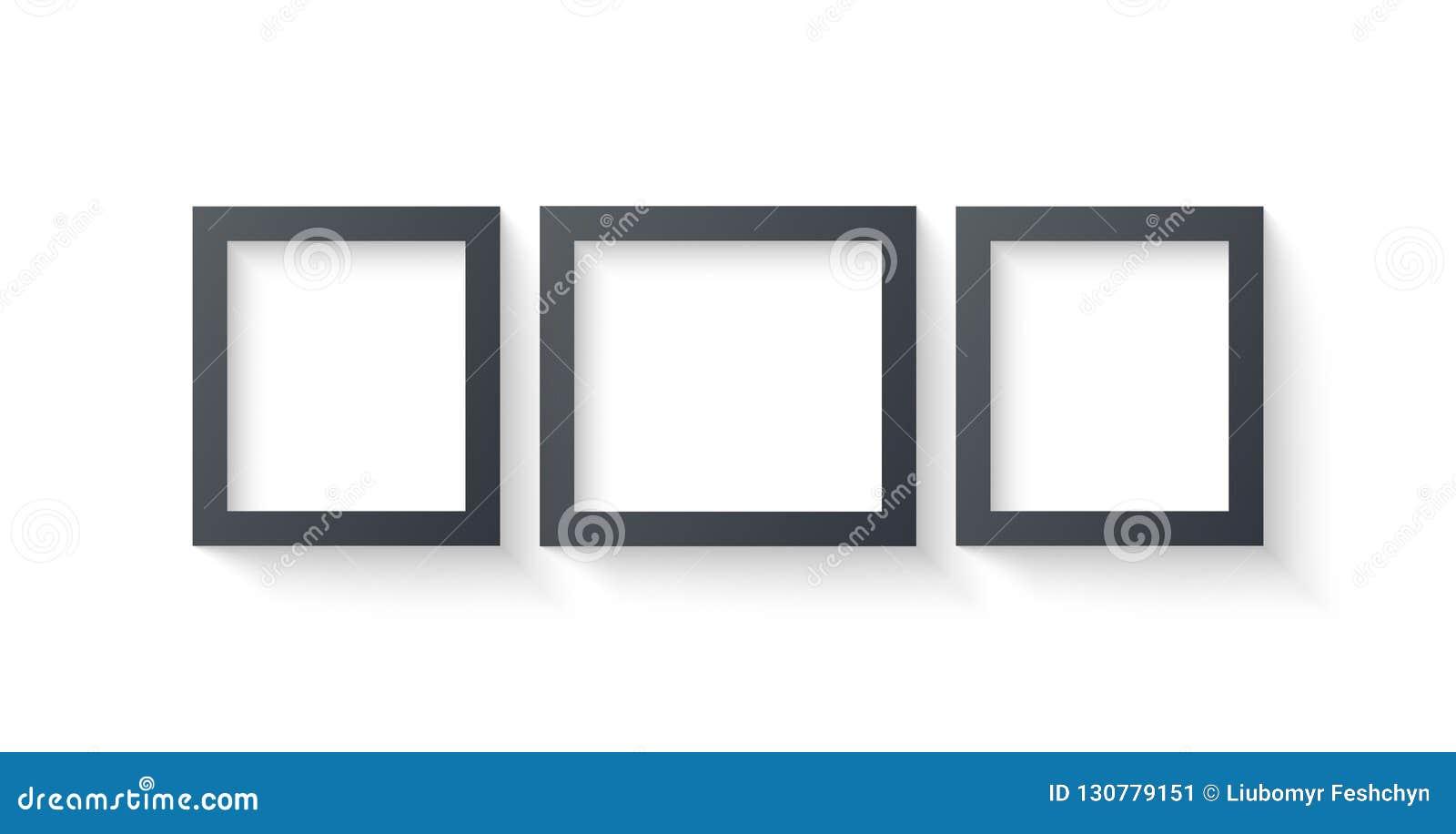 Ścienni obrazek ramy szablony odizolowywający na białym tle Puste fotografii ramy z cieniem, granicami i cienia wektorem