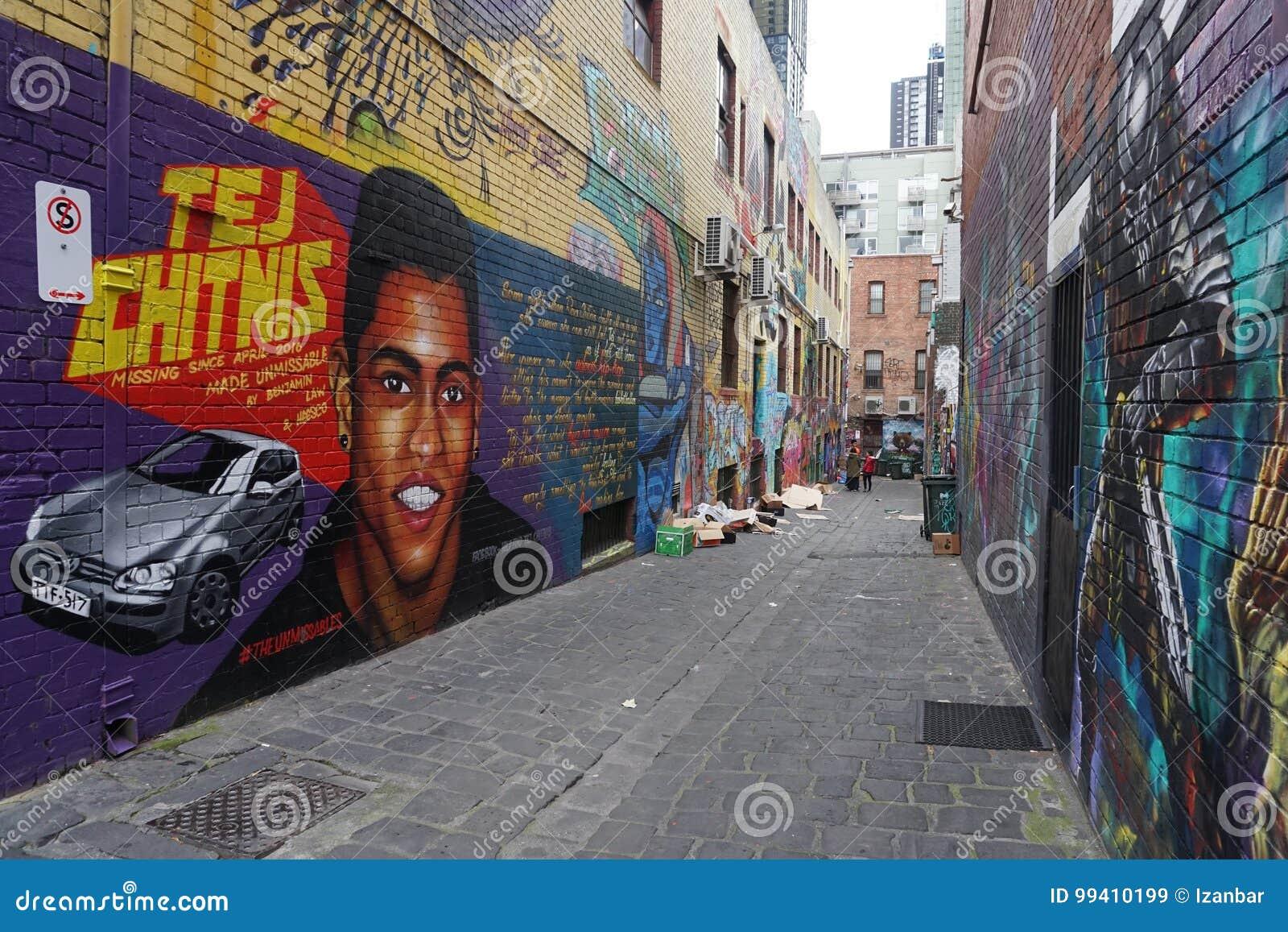 ŚCIENNYCH obrazów graffiti murales na miasto ulicach Melbourne AUSTRALIA, SIERPIEŃ - 15 2017 -