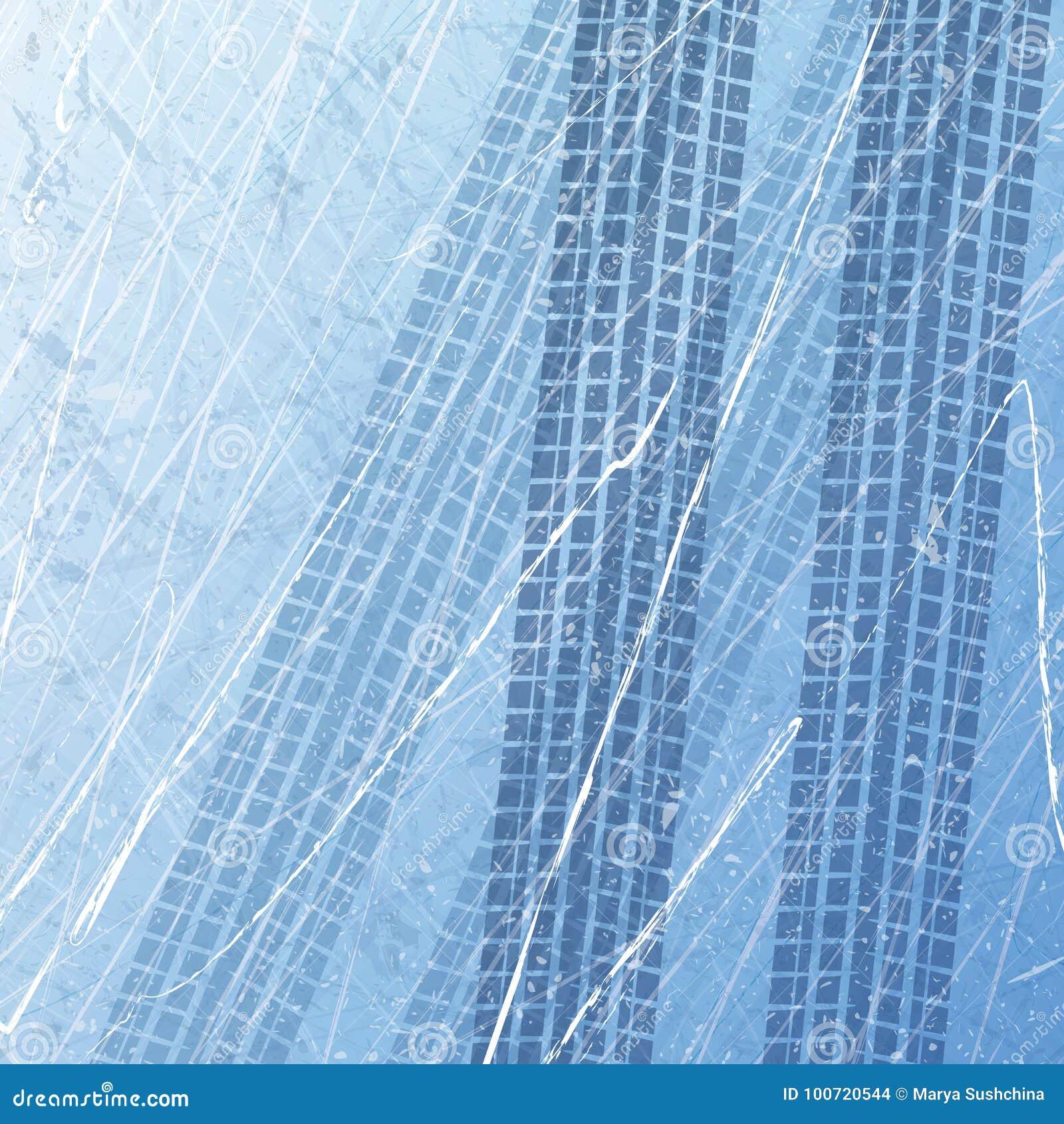 Ślada samochodowe opony na lodzie motocykl opony Samochodów druki w lodzie Tekstura lód powierzchnia Ślad z oddzielnym grunge