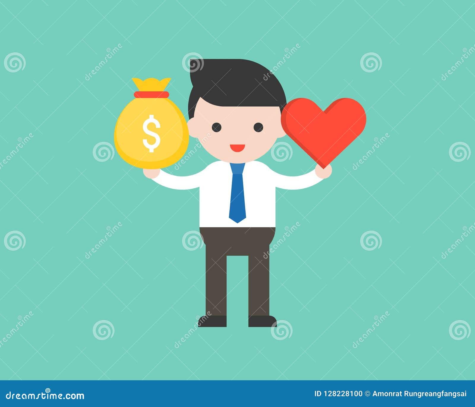 Śliczna biznesowego mężczyzna chwyta pieniądze torba i serce, równowaga między inco