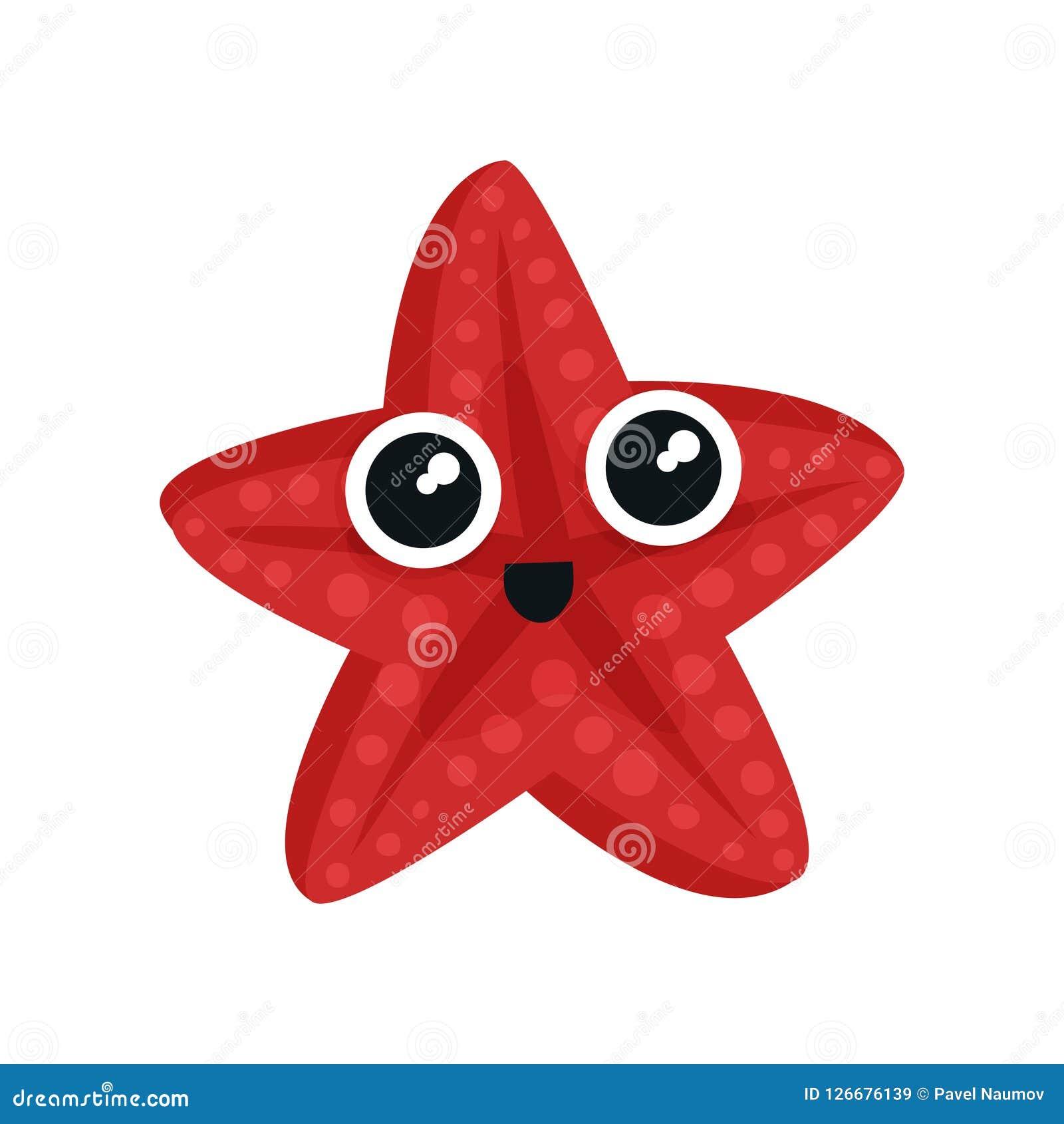 Śliczna czerwona denna gwiazda z dużymi błyszczącymi oczami Urocza morska istota Mały nadwodny zwierzę Płaski wektor dla dzieciak