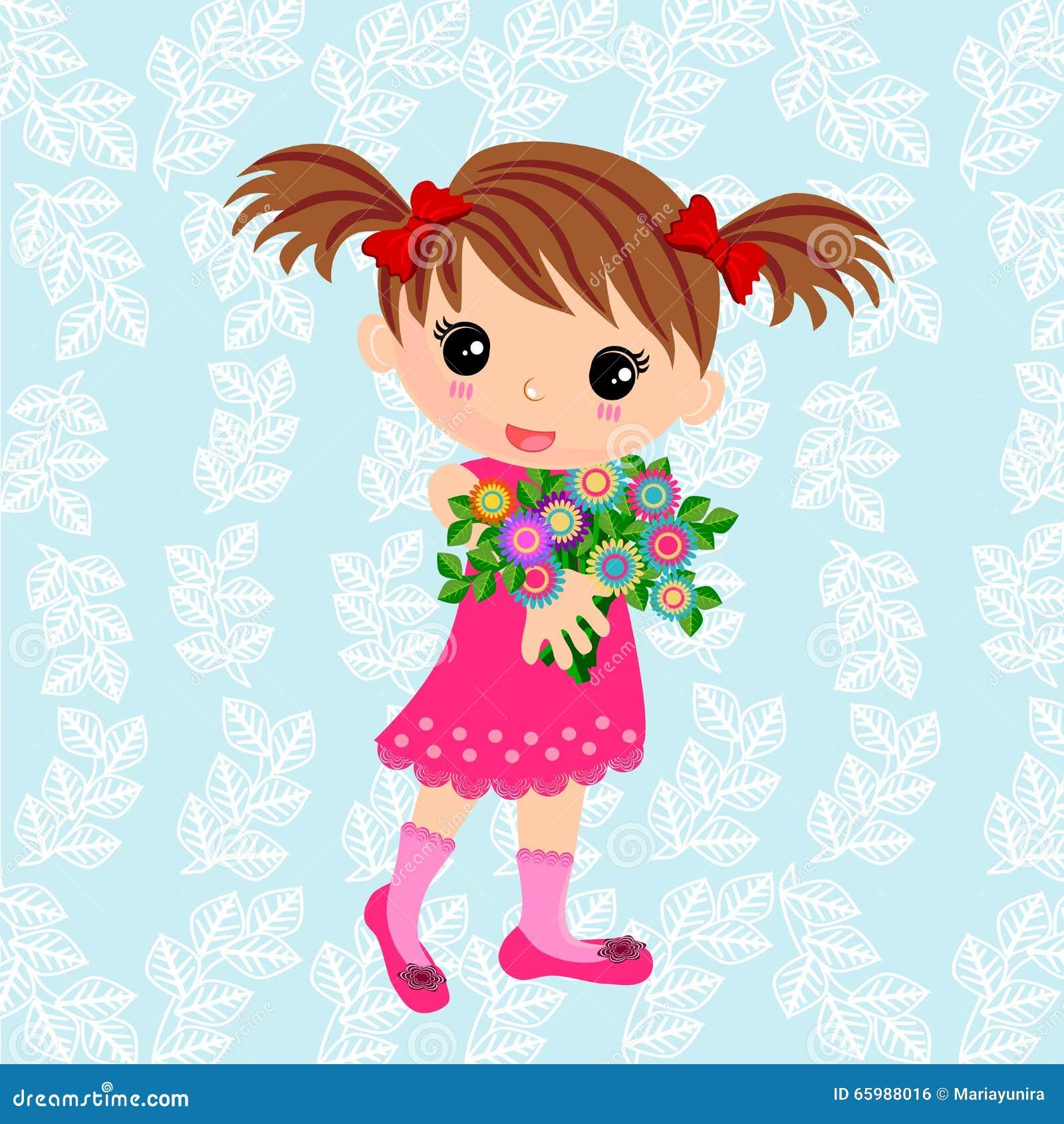 Śliczna dziewczyna i bukiet kwiaty