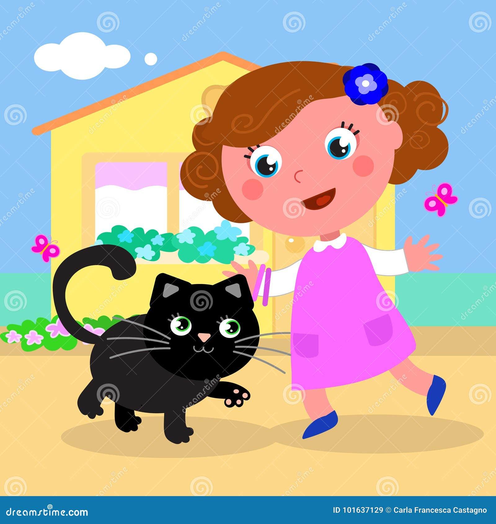 Śliczna dziewczyna z kota wektorem