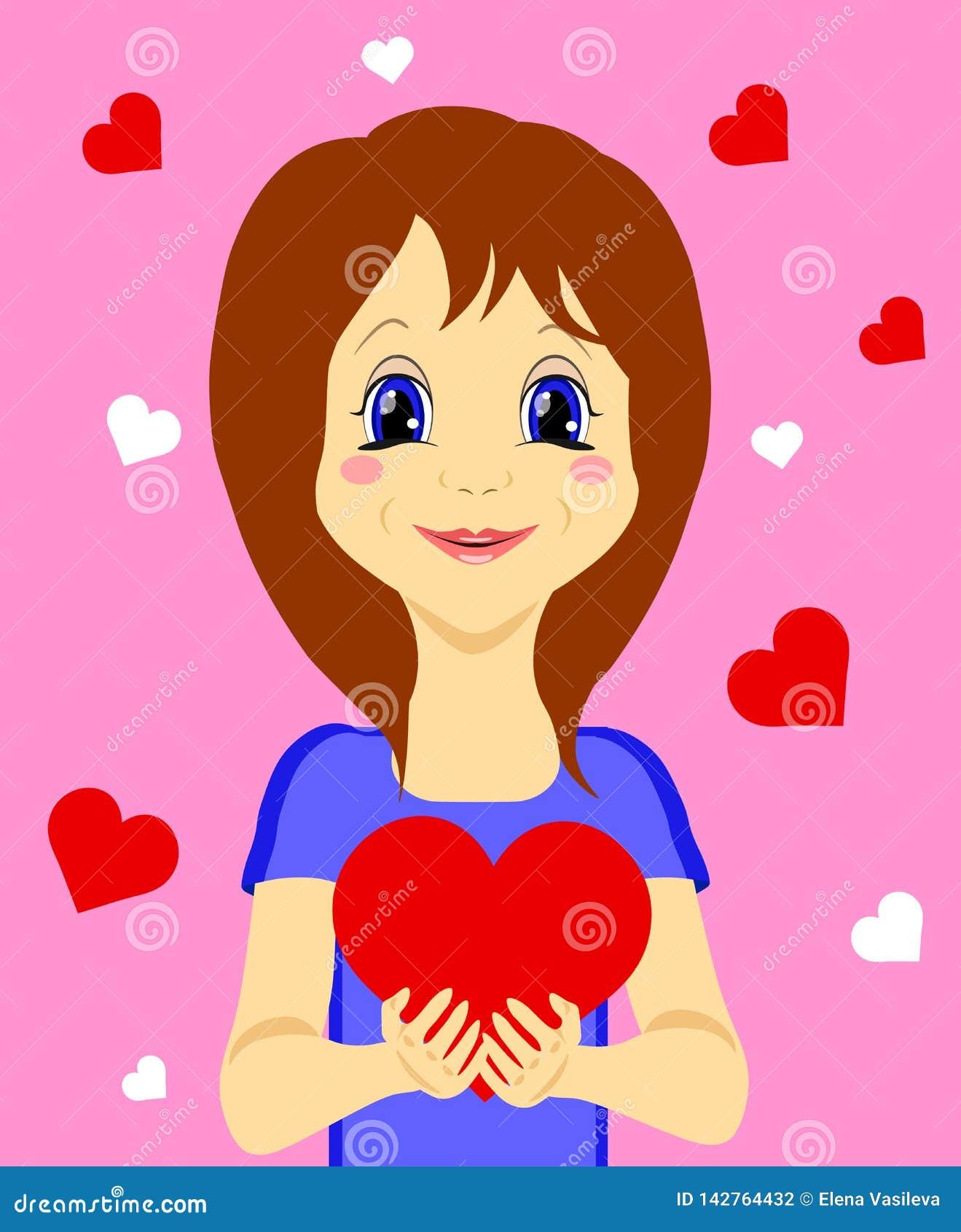 Śliczna dziewczyna z sercem w ona ręki odizolowywać na różowym tle