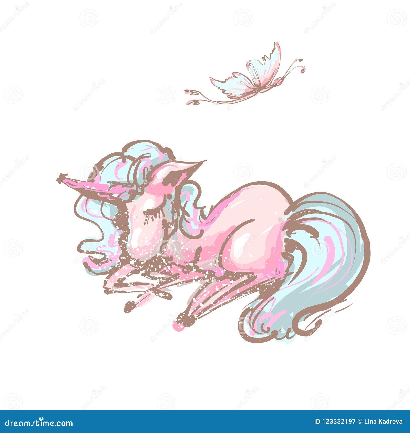 Śliczna jednorożec i motyli słodkich sen druk Sen jednorożec odosobniona wektorowa ikona Fantazja koński majcher, łaty odznaka