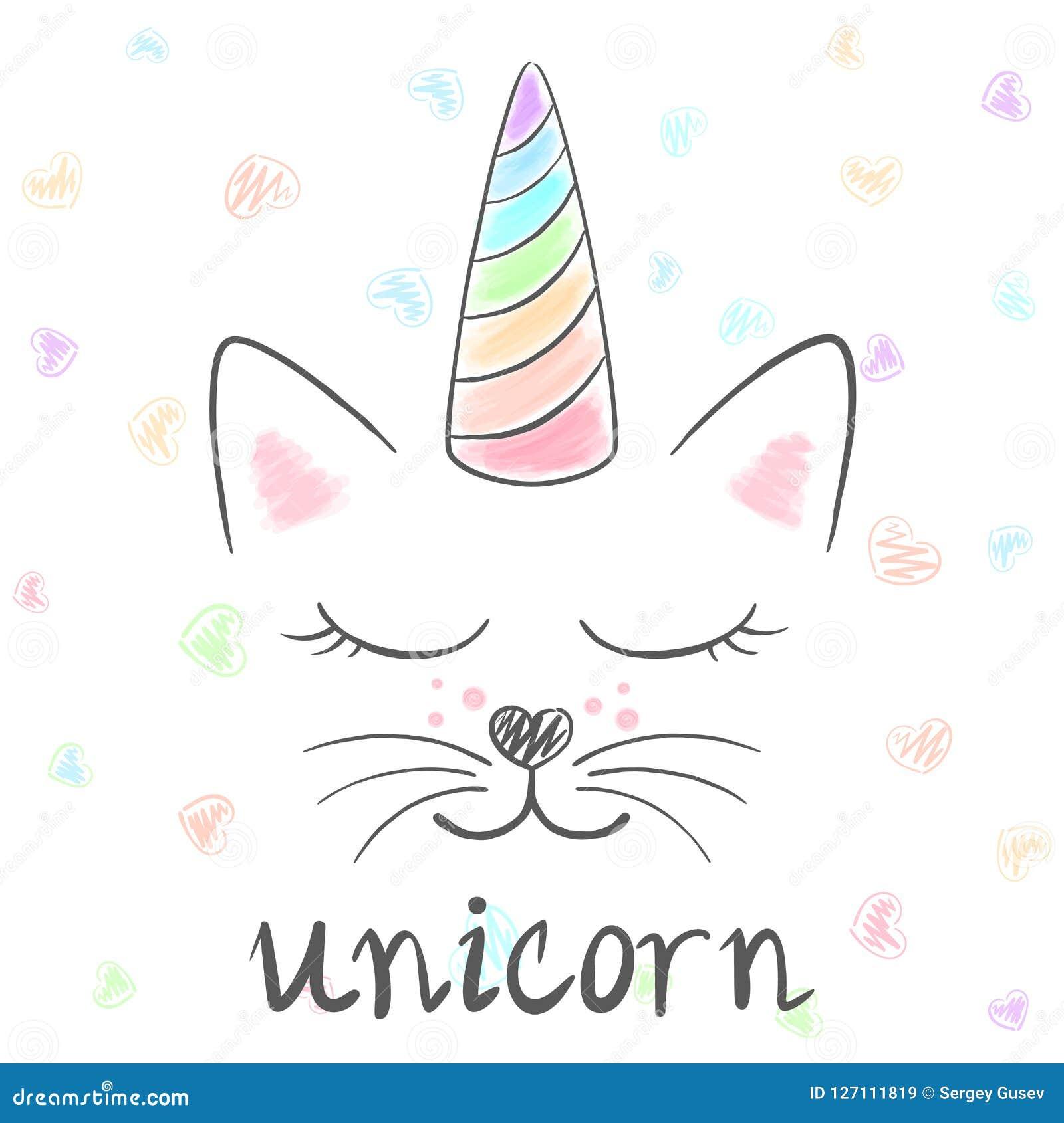Śliczna jednorożec, kota meow ilustracja Śmieszny princess i korona dla druk koszulki Ręka rysujący styl