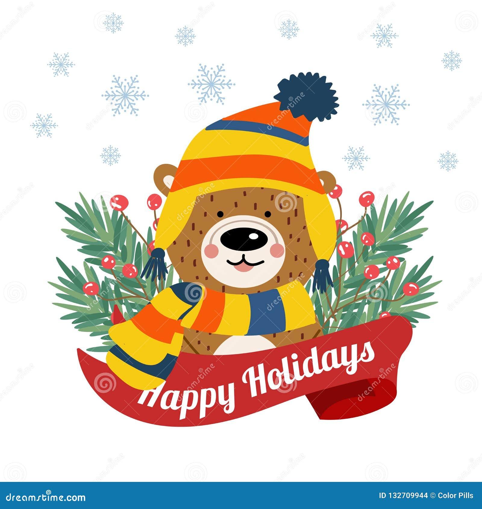 Śliczna kartka bożonarodzeniowa z drzewnymi braches i śmiesznym niedźwiedziem