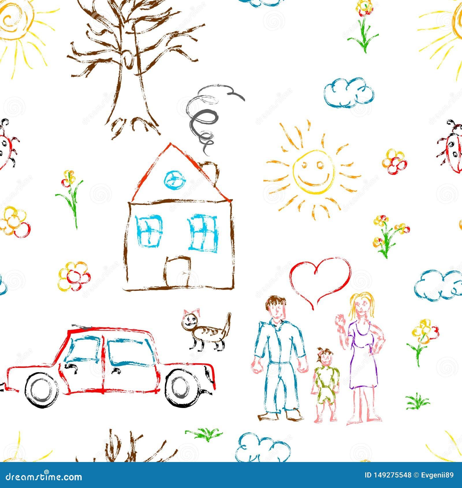 Śliczna kolorowa dziecko ręka rysująca protestuje jak rodzina, kwiaty, dom, trawa, drzewo, słońce i kot, bezszwowy wzór na bielu