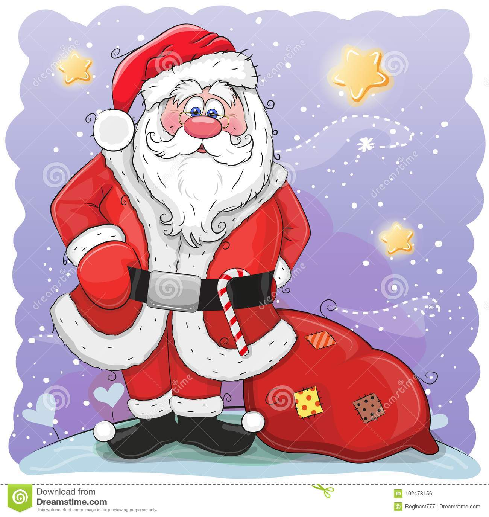 Śliczna kreskówka Święty Mikołaj z torbą
