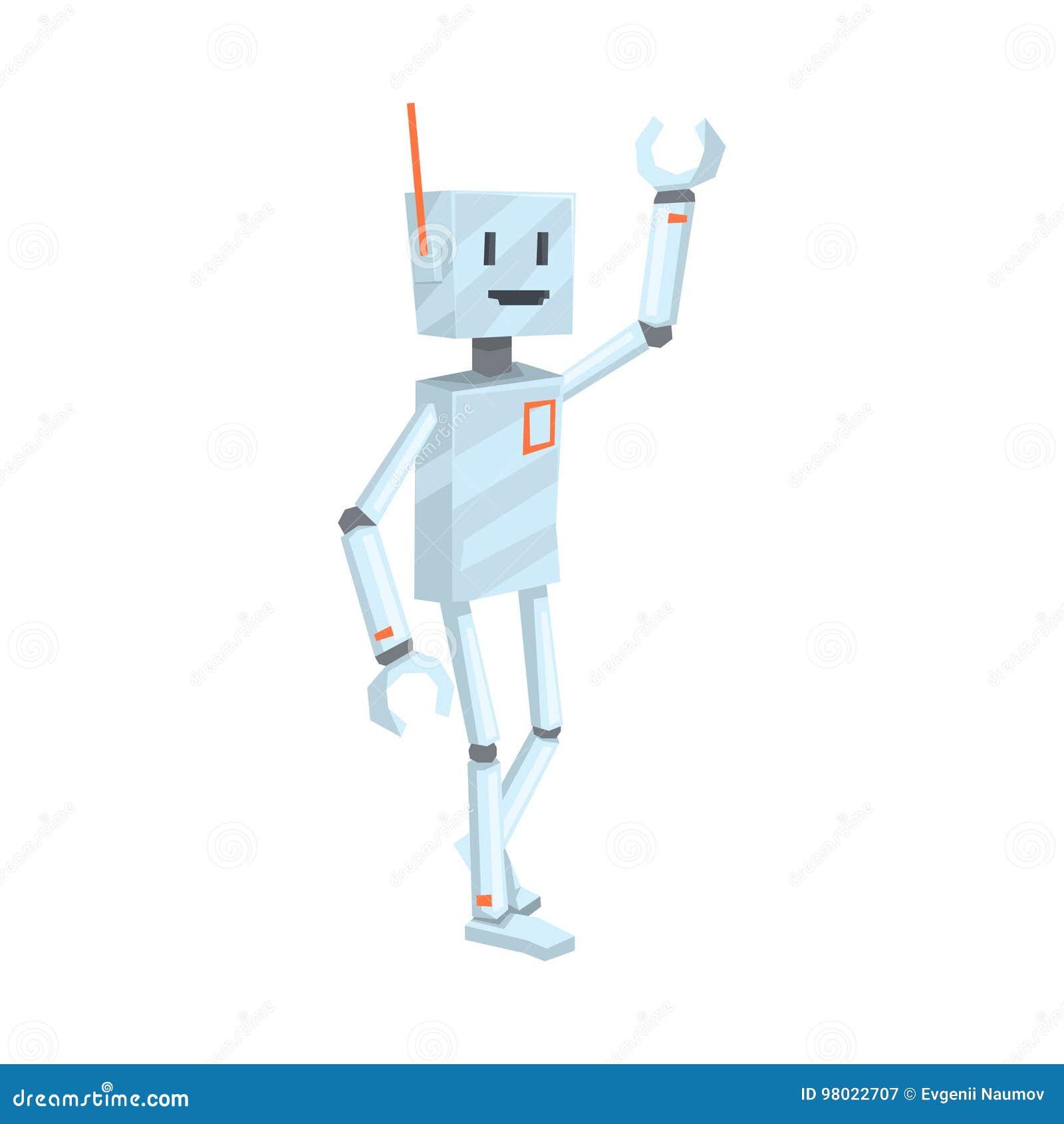 Śliczna kreskówka robota charakteru falowania wektorowa ilustracja Cześć