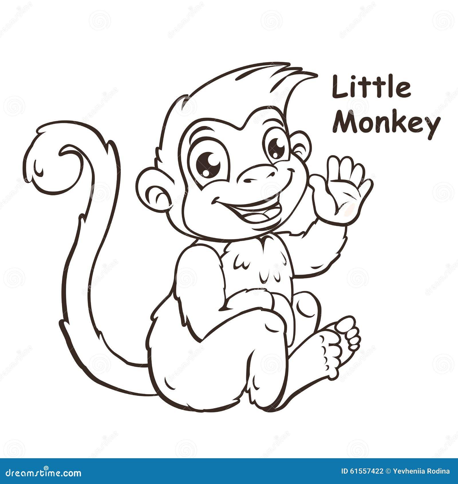 Śliczna kreskówka siedzi małej małpy