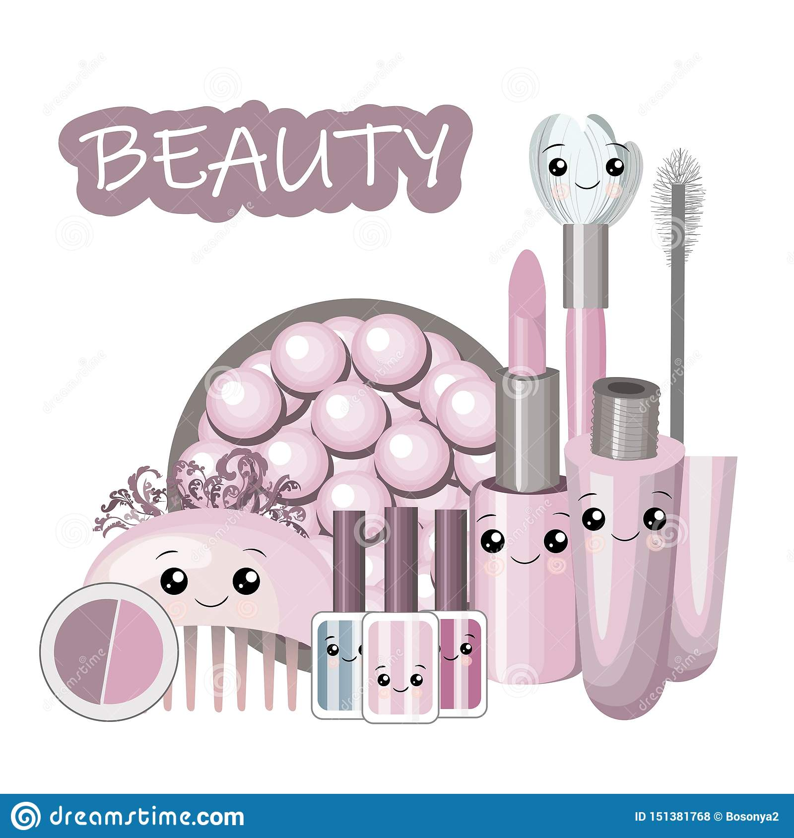 Śliczna kreskówka ustawiająca z kawaii dziewczyn i kosmetyków piękna akcesoriami - twarzy śmietanka, pachnidło, kobieta materiału