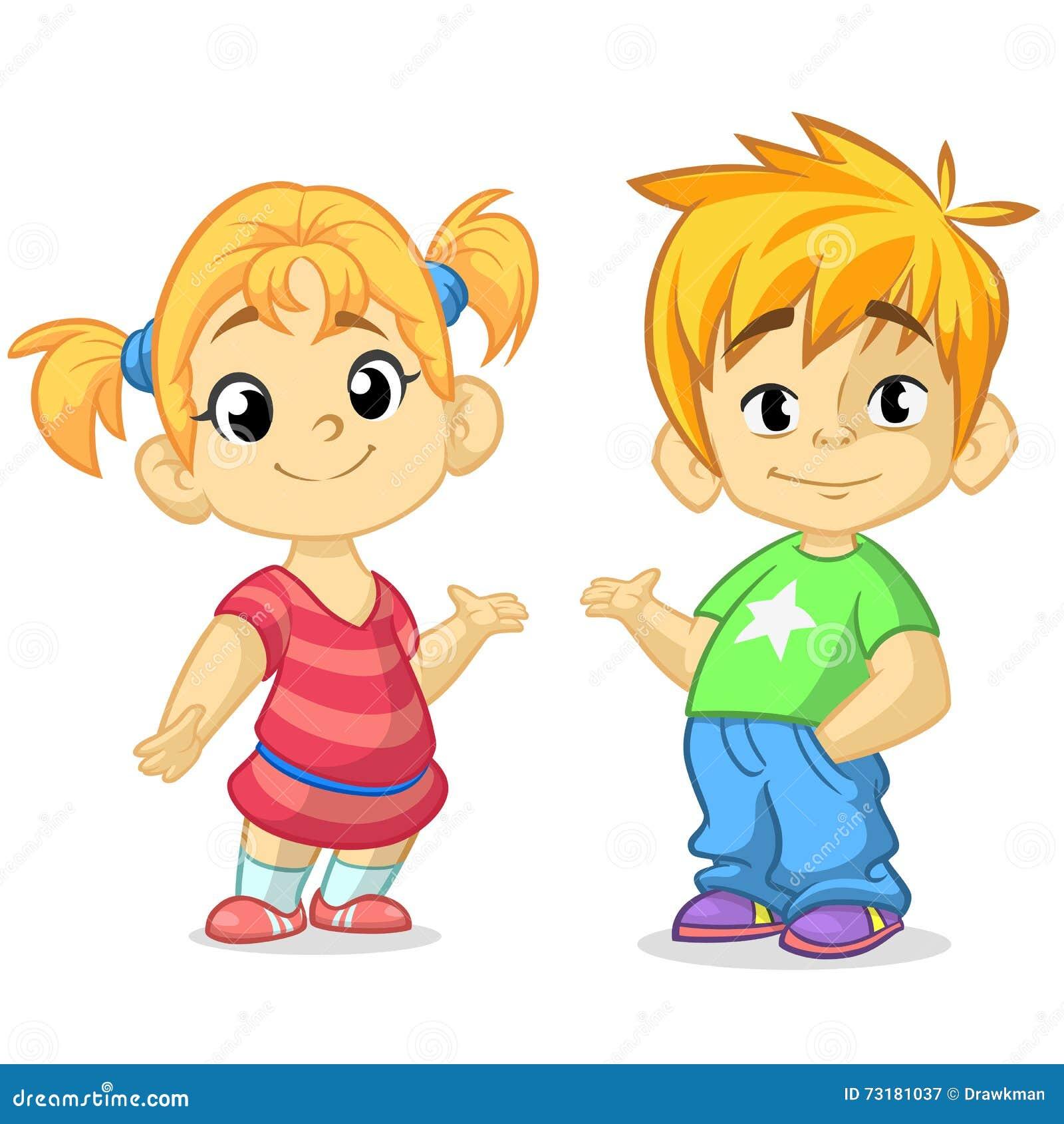 Śliczna kreskówki chłopiec, dziewczyna z rękami i up wektorową ilustrację Chłopiec i dziewczyny powitania projekt Dzieciaka lata