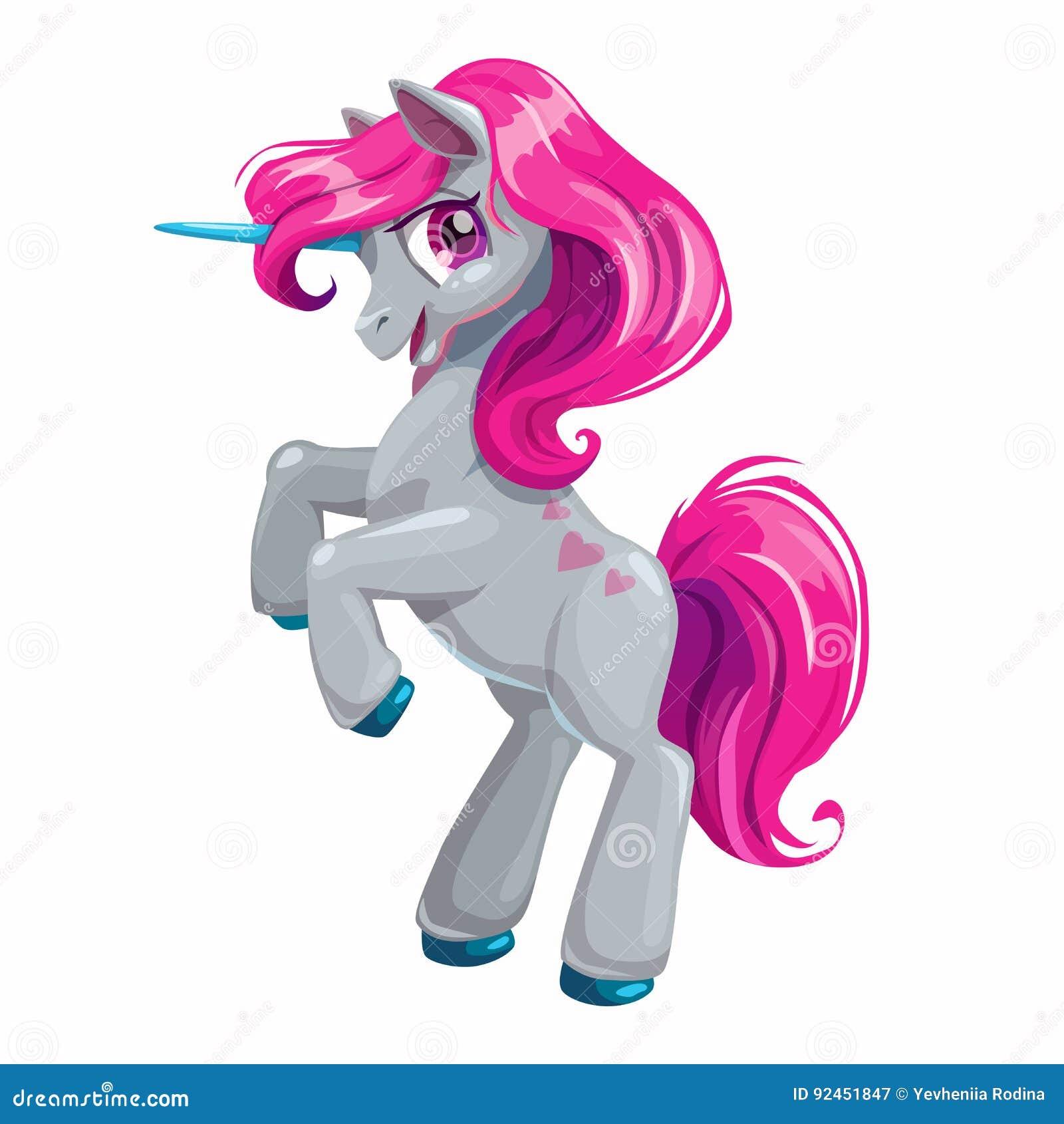 Śliczna kreskówki jednorożec z różowym włosy