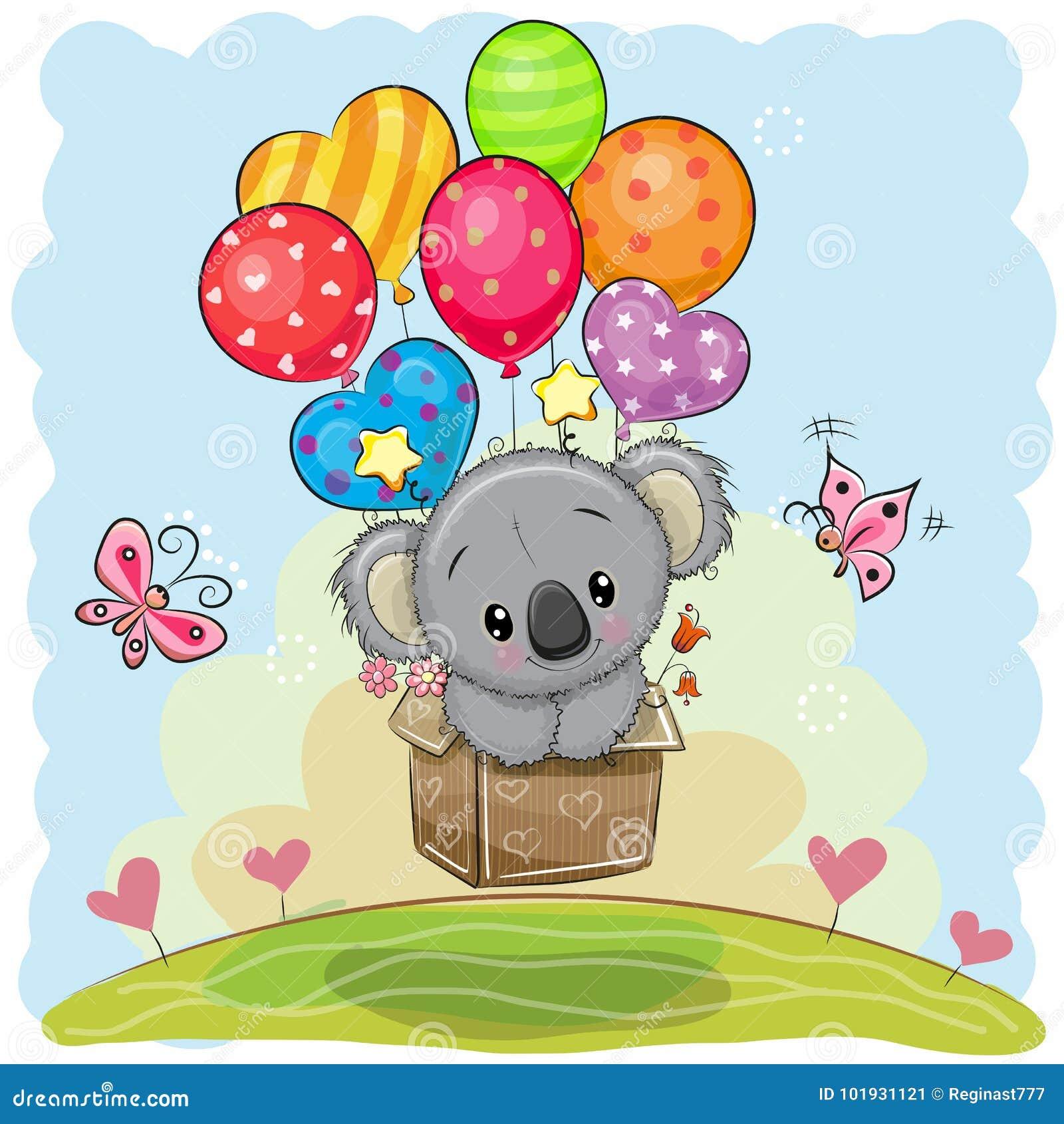 Śliczna kreskówki koala z balonami