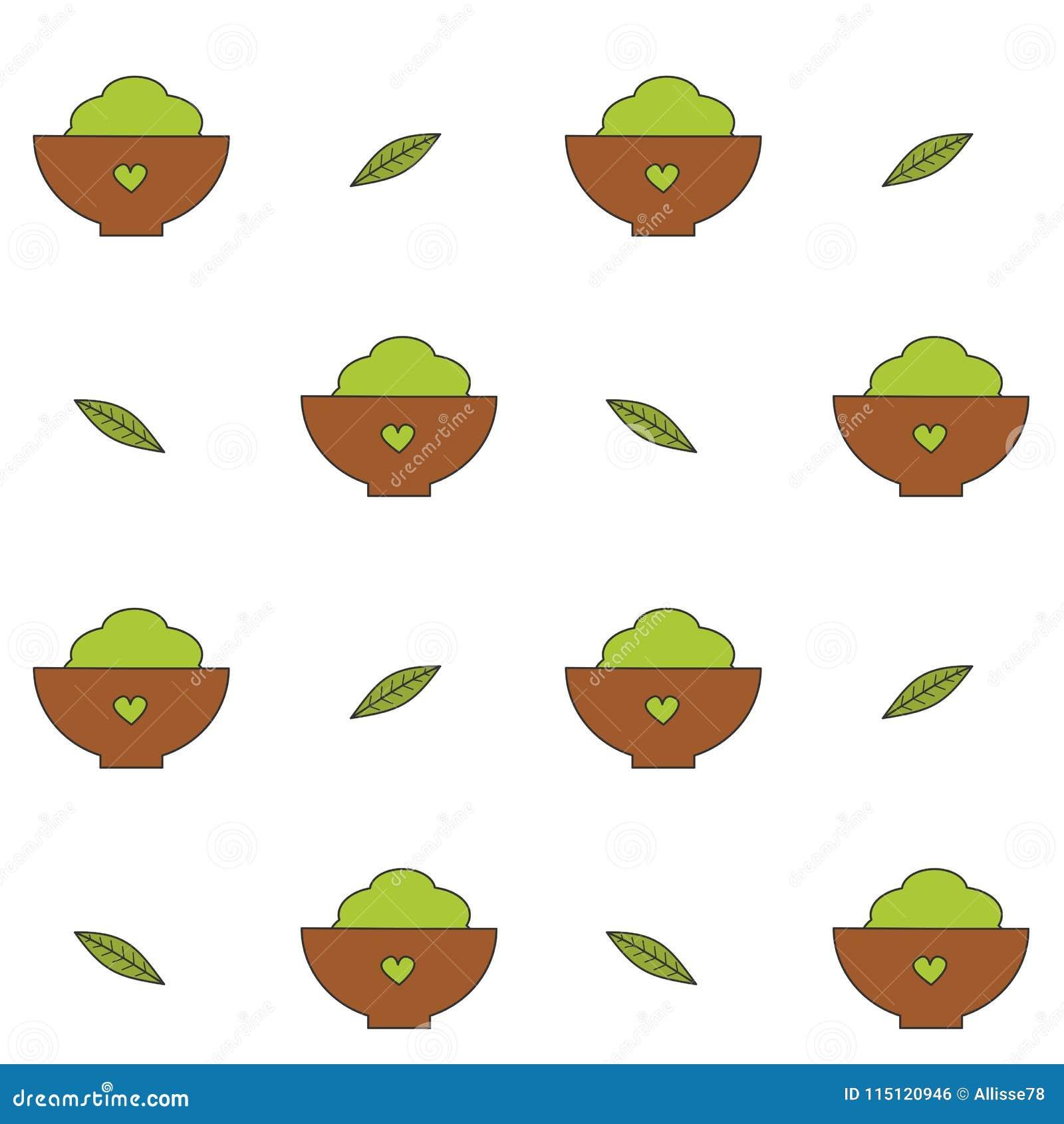 Śliczna kreskówki matcha proszka zielona herbata w puchar filiżance z liścia wektoru wzoru tła bezszwową ilustracją