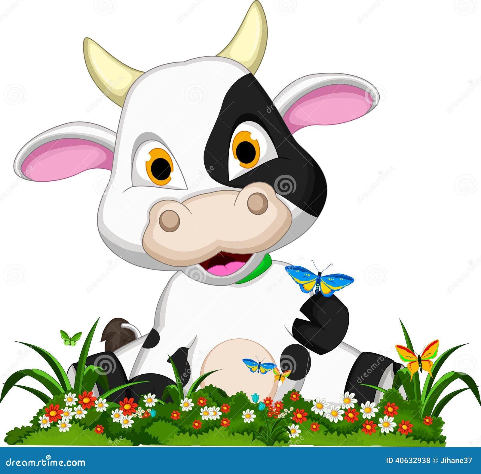 Śliczna krowy kreskówka na kwiatu ogródzie