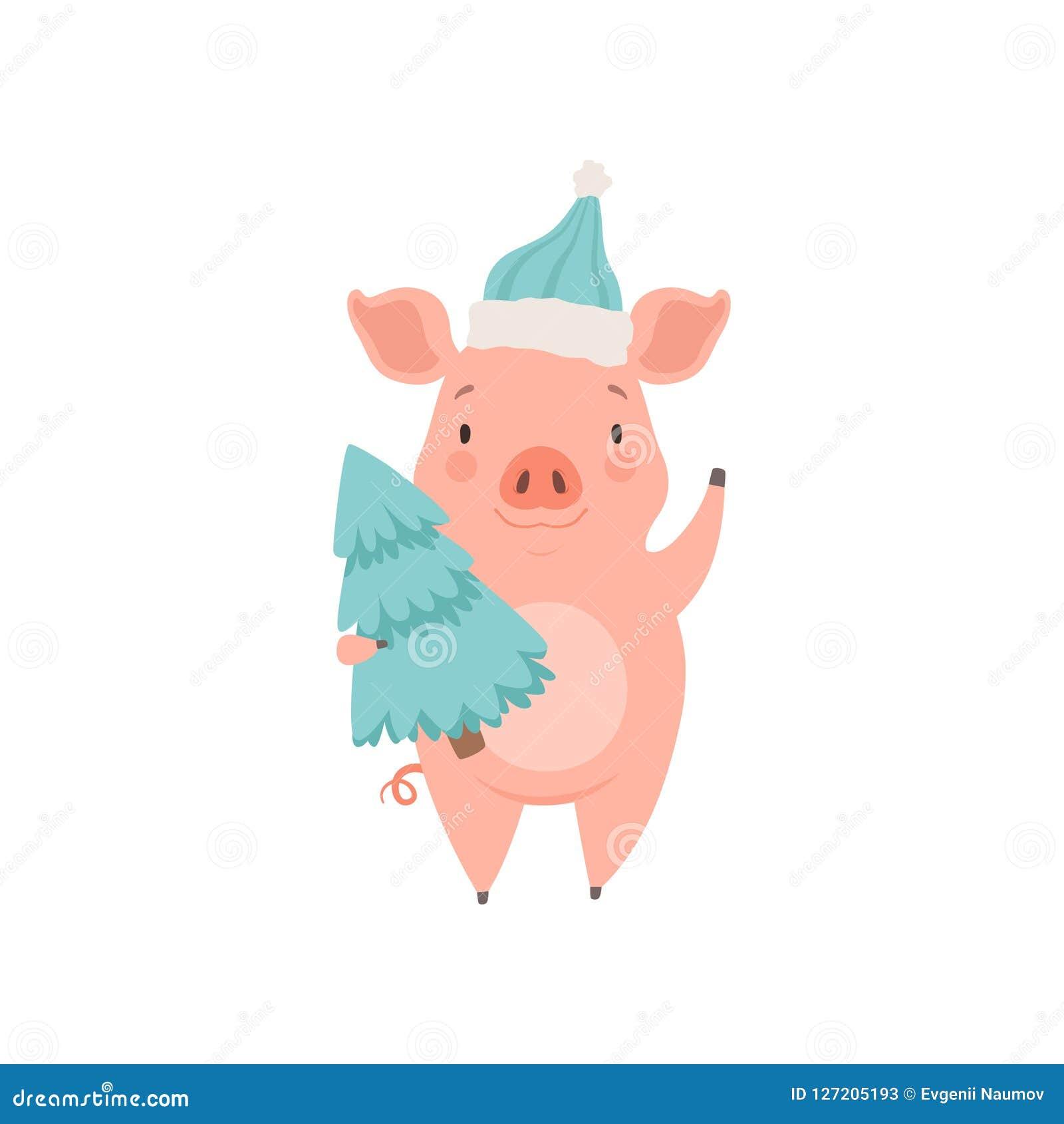Śliczna mała świniowata jest ubranym Santa kapeluszowa pozycja z jedlinowym drzewem, śmiesznego prosiaczka postać z kreskówki wek