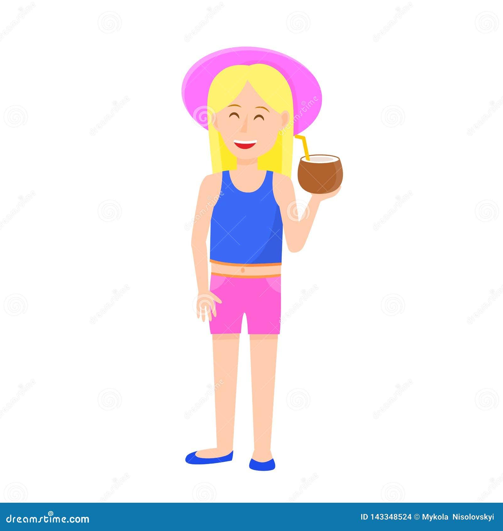 Śliczna mała dziewczynka z blondynka włosy mienia koksem