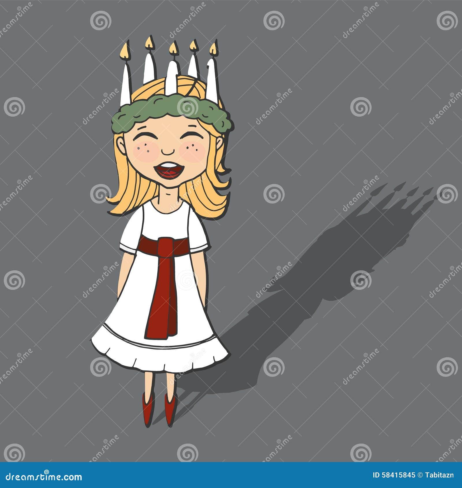 Śliczna mała dziewczynka z wiankiem i świeczka koronujemy, święty Lucia