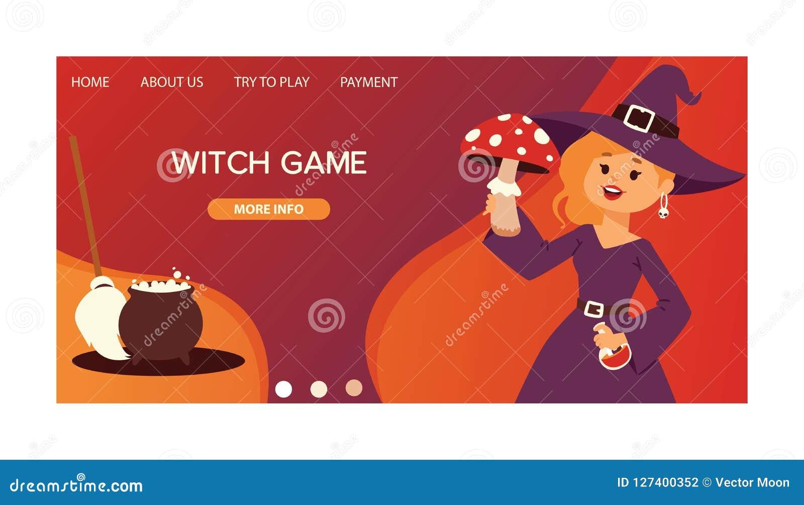 Śliczna mała Halloweenowa dziewczyny czarownica z amaita pieczarki kreskówki powitania invintation plakata karty szczęśliwym Hall