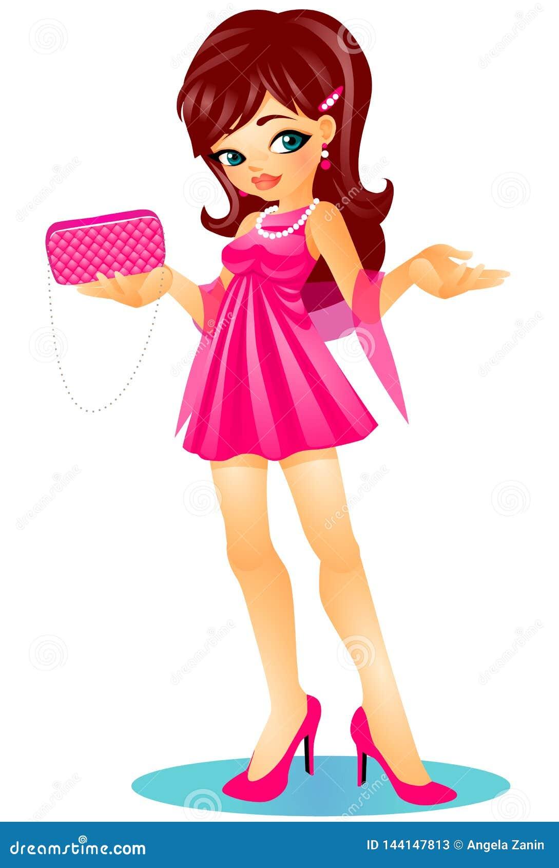 Śliczna powabna brunetki dziewczyna w szpilkach z elegancką menchii suknią, trzymać sprzęgłową torbę i