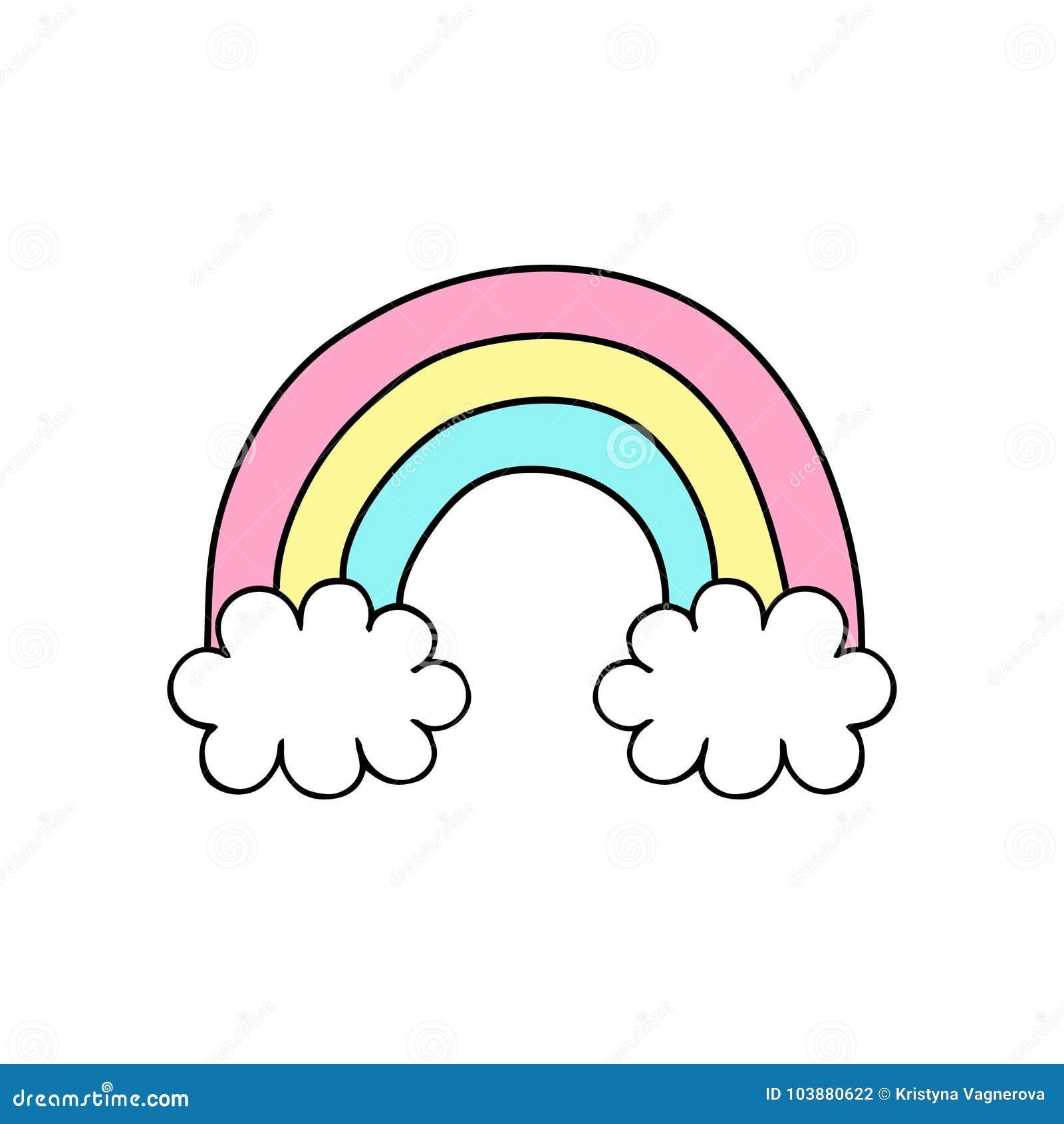 Sliczna Reka Rysujaca Kolorowa Tecza Z Chmurami Ilustracja Wektor Ilustracja Zlozonej Z Rysujaca Kolorowa 103880622