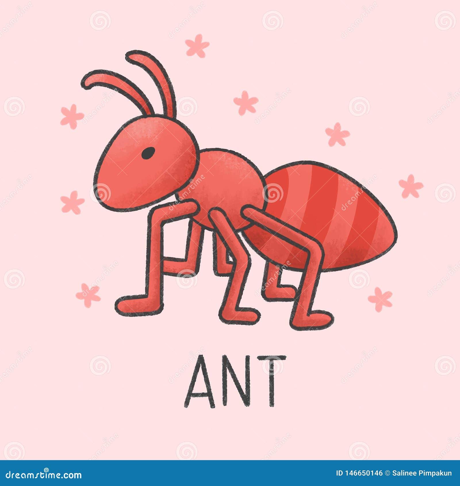 Śliczna ręka rysujący mrówki kreskówki styl