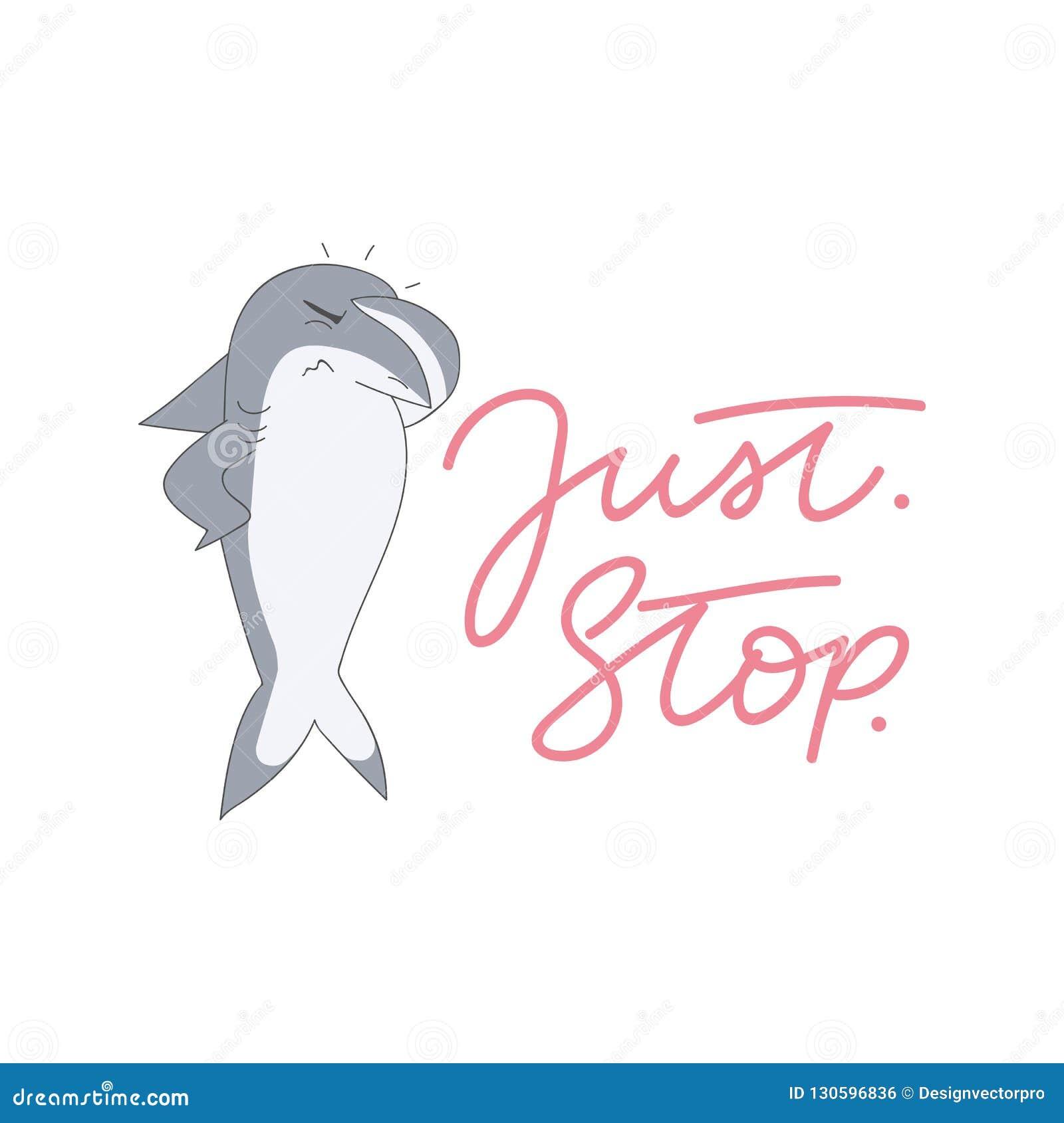 Śliczna rekinu meme ilustracja z literowania wpisową «Właśnie przerwą `