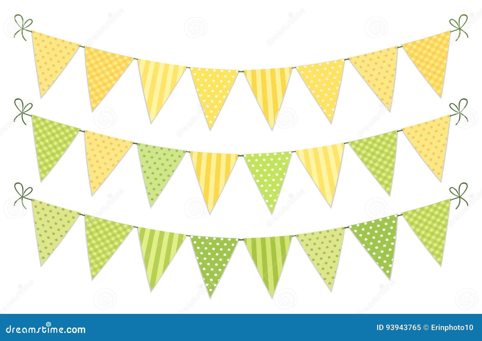 Śliczna rocznik tkaniny zieleń i żółte podławe modne chorągiewek flaga dla lato festiwali/lów, urodziny, dziecko prysznic
