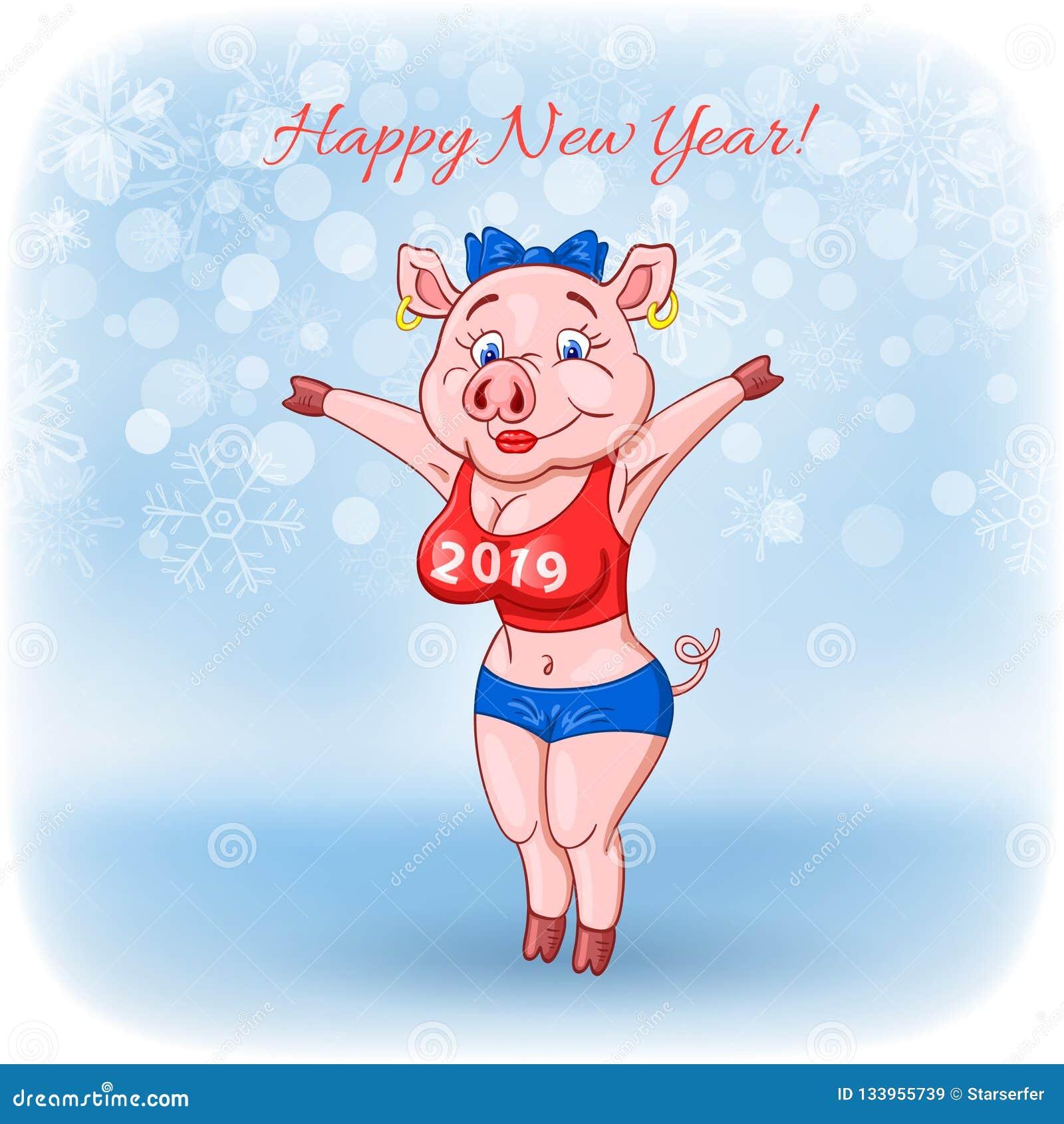 Śliczna rozochocona żeńska świnia z 2019 inskrypcją na jej piersi życzy szczęśliwego nowego roku