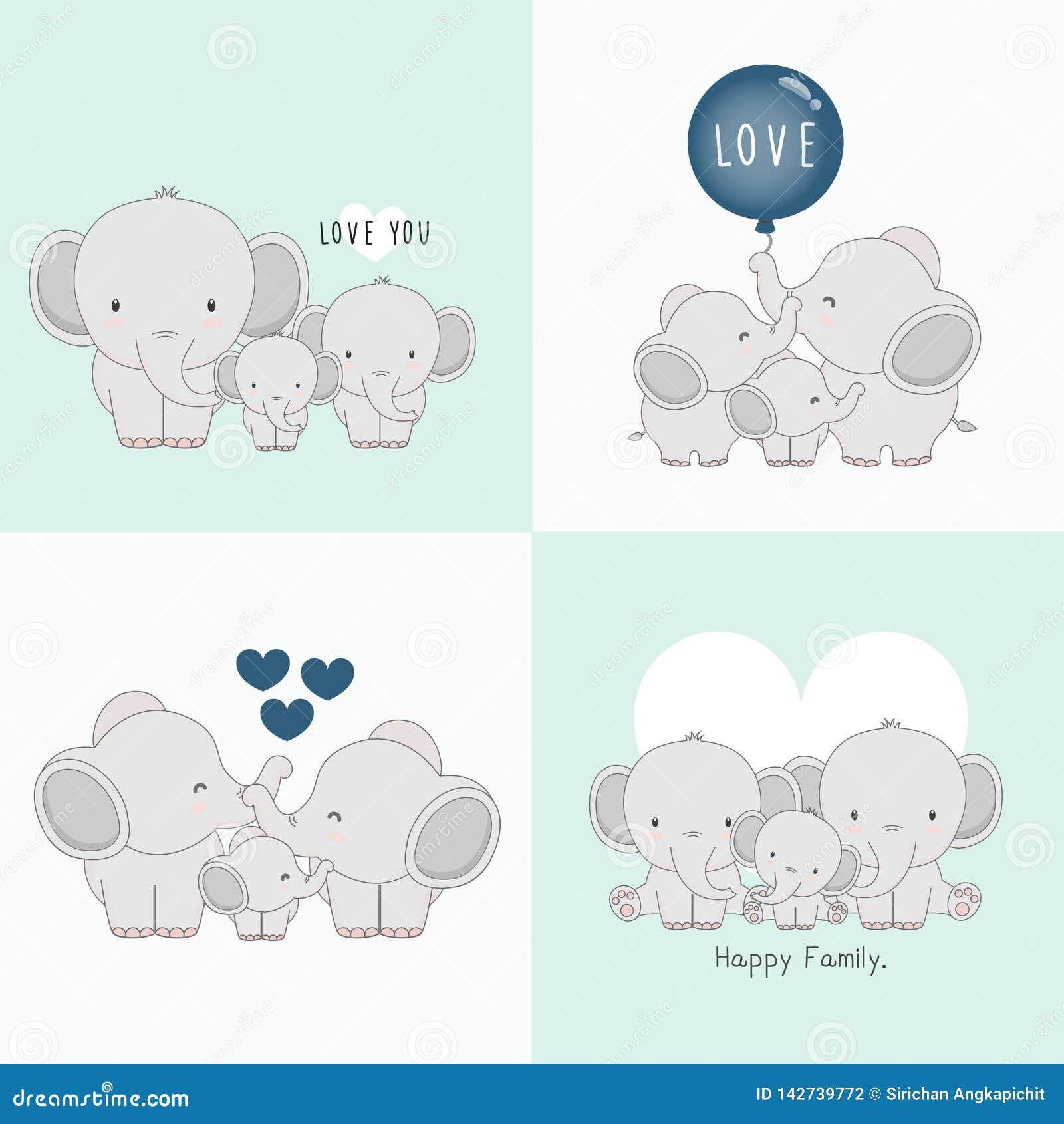 Śliczna słoń rodzina z słoniem w środku troszkę