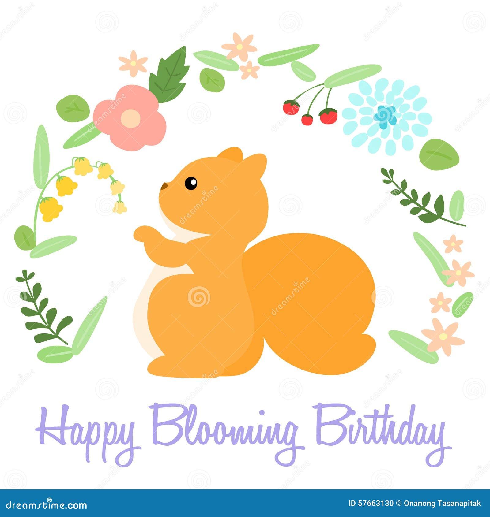 Śliczna szczęśliwa kwitnąca urodzinowa karta z wiewiórką