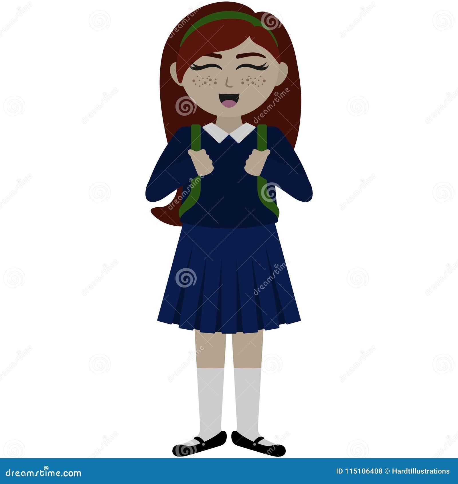 Śliczna Szkolna dziewczyna w Jednolitej ilustraci