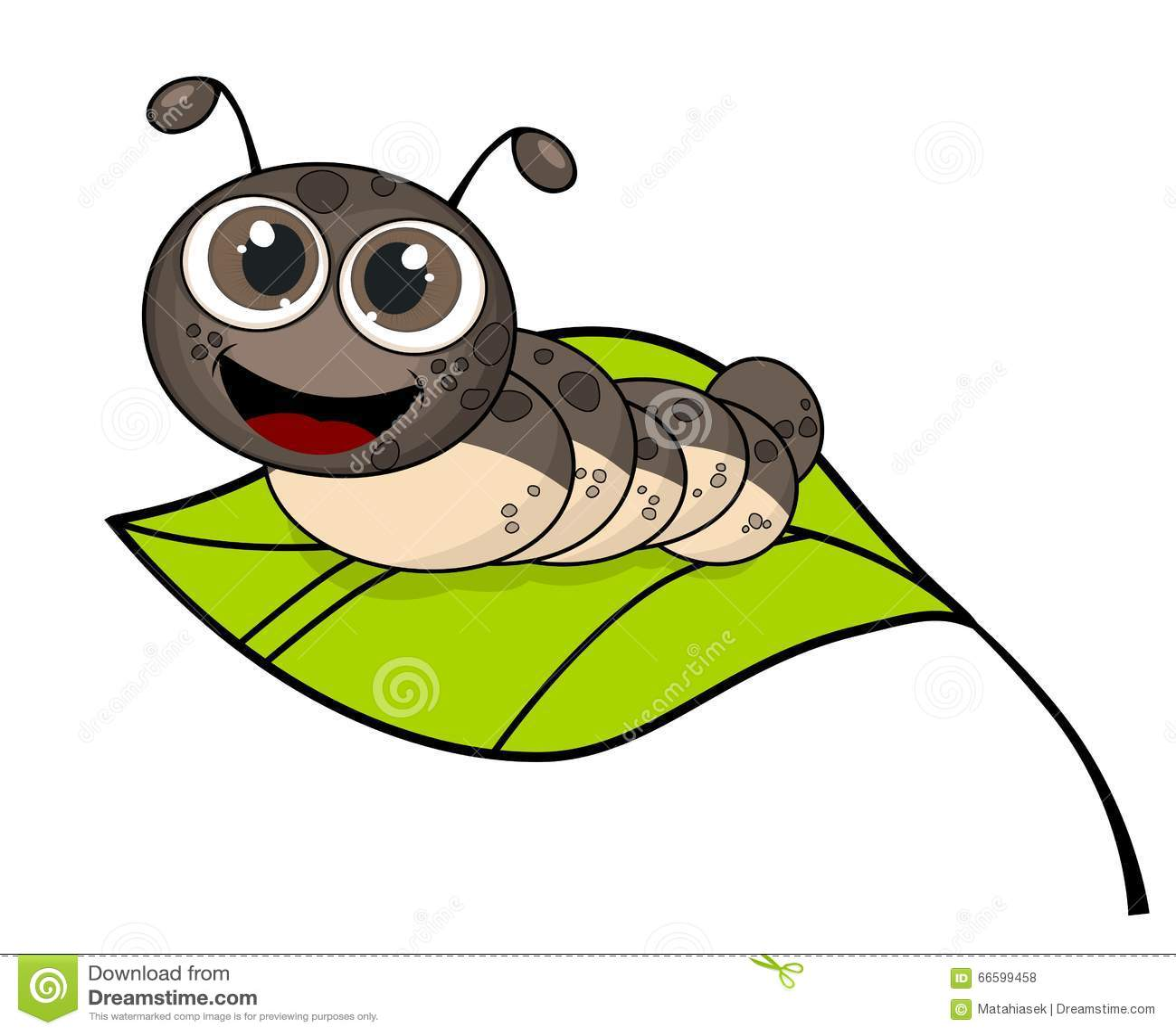 Śliczna uśmiechnięta kreskówki gąsienica na świeżym zielonym liściu