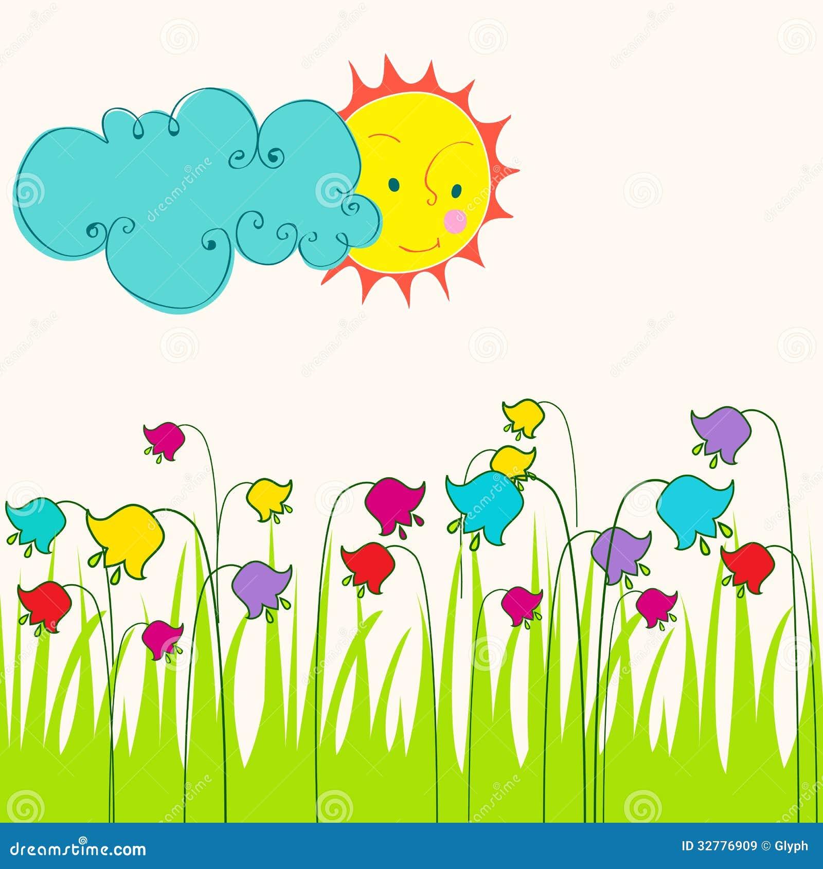 Śliczna Wiosny łąki Ilustracja Ilustracja Wektor - Ilustracja złożonej z  ilustracje, arte: 32776909
