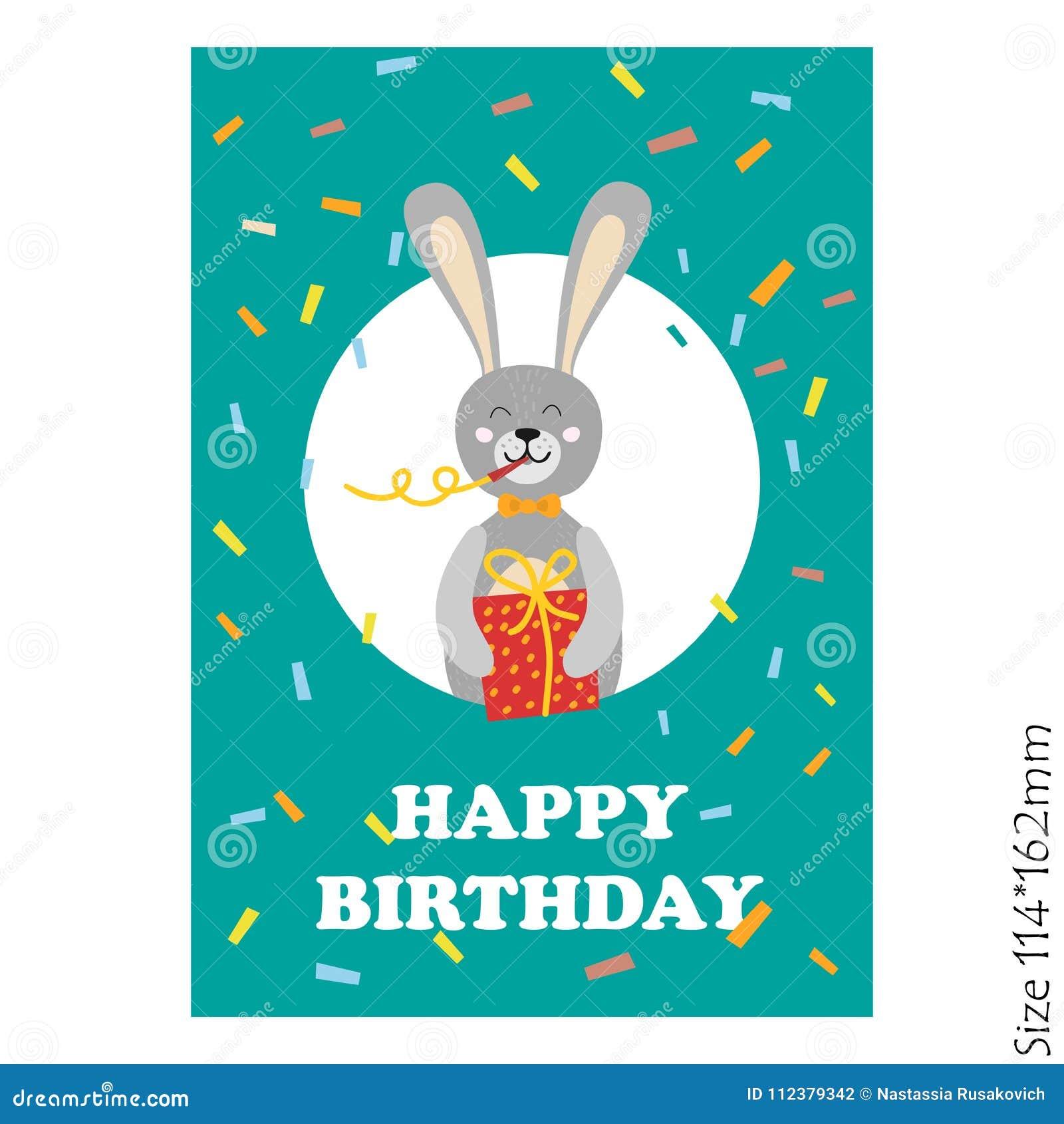 Śliczna wszystkiego najlepszego z okazji urodzin karta z śmiesznymi zwierzętami