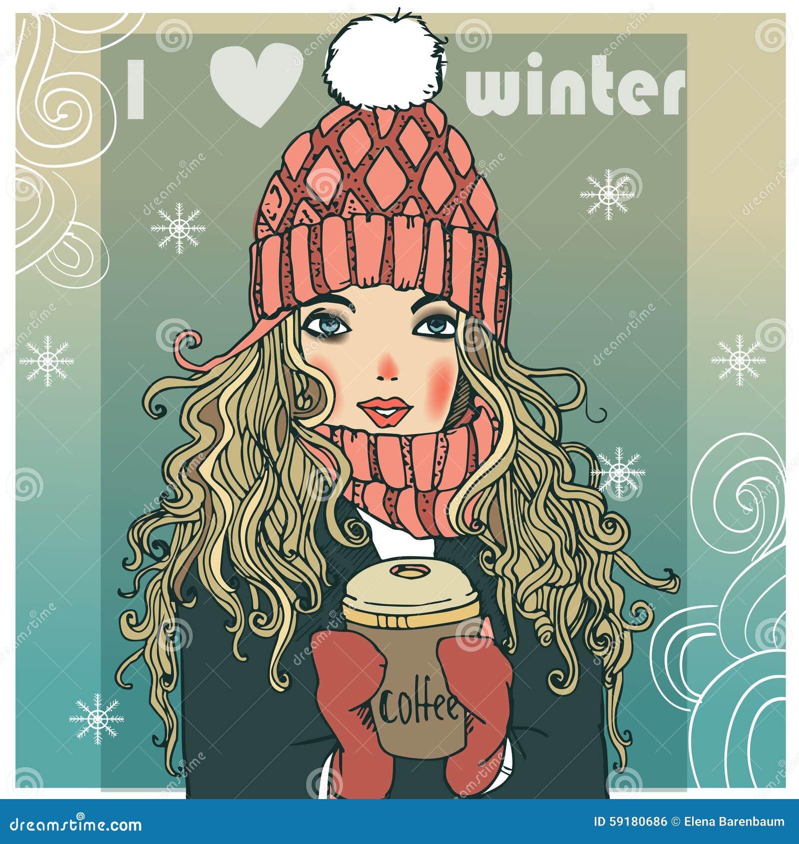 Śliczna zimy dziewczyna z kawą