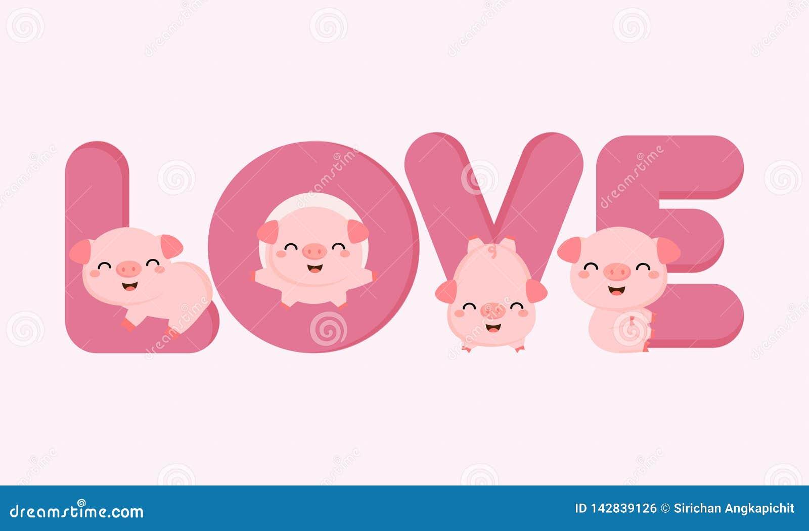 Śliczne świnie z listami miłosnymi Walentynki kartka z pozdrowieniami