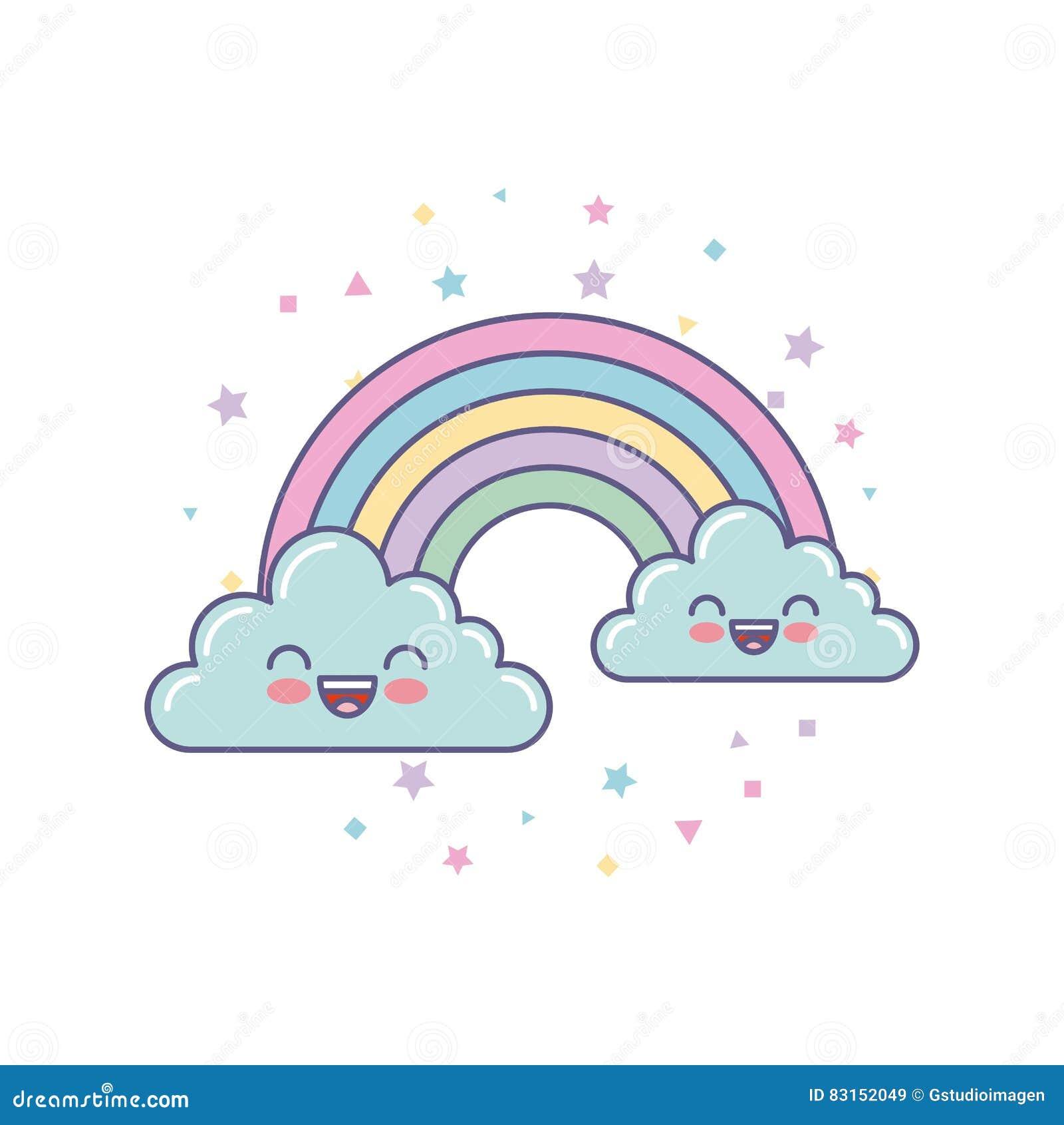 Sliczne Chmury I Tecza Rysunek Ilustracji Ilustracja Zlozonej Z Rysunek Sliczne 83152049