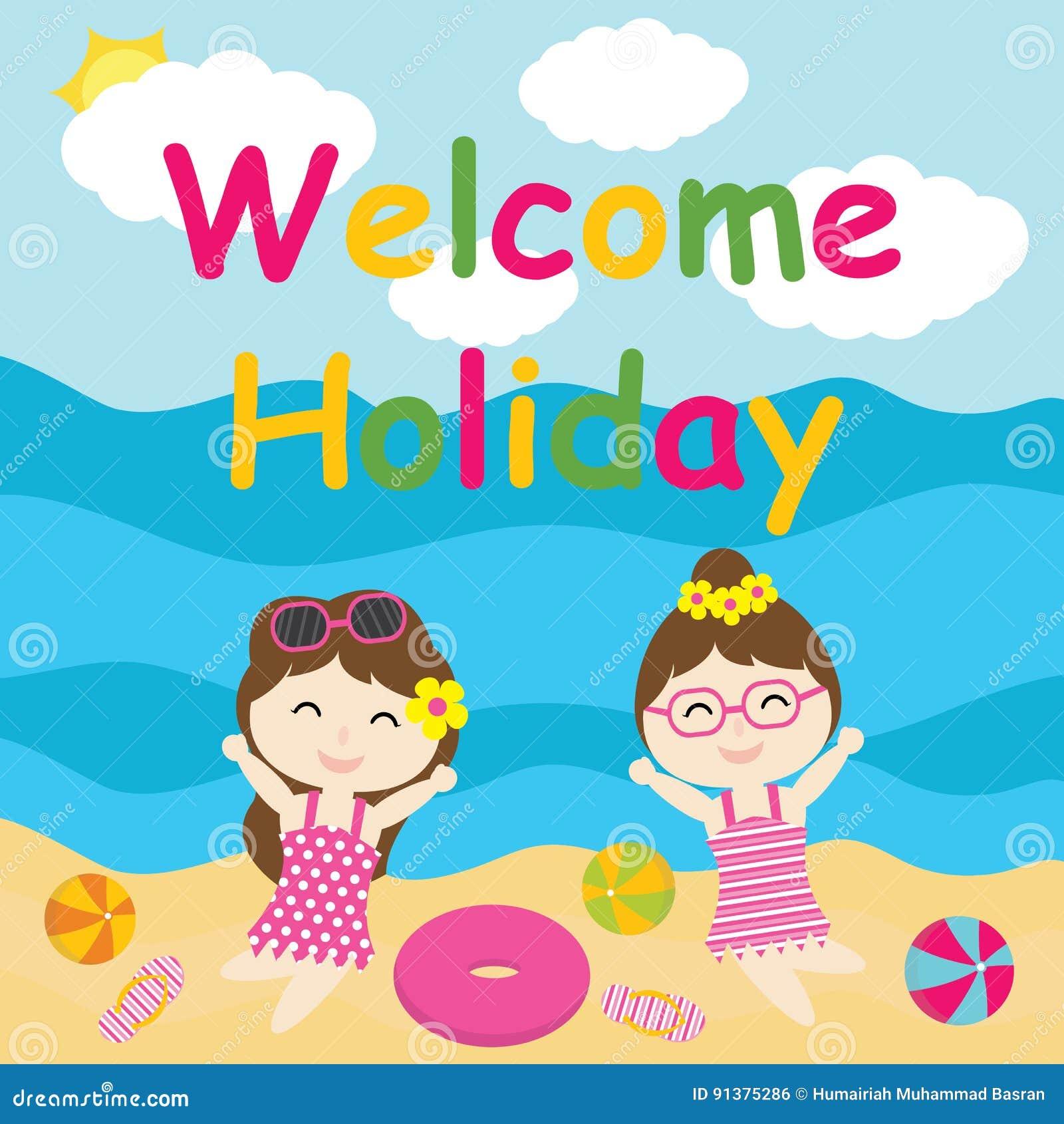 Śliczne dziewczyny są szczęśliwe na wakacyjnej kreskówce, lato pocztówce, tapecie i kartka z pozdrowieniami,