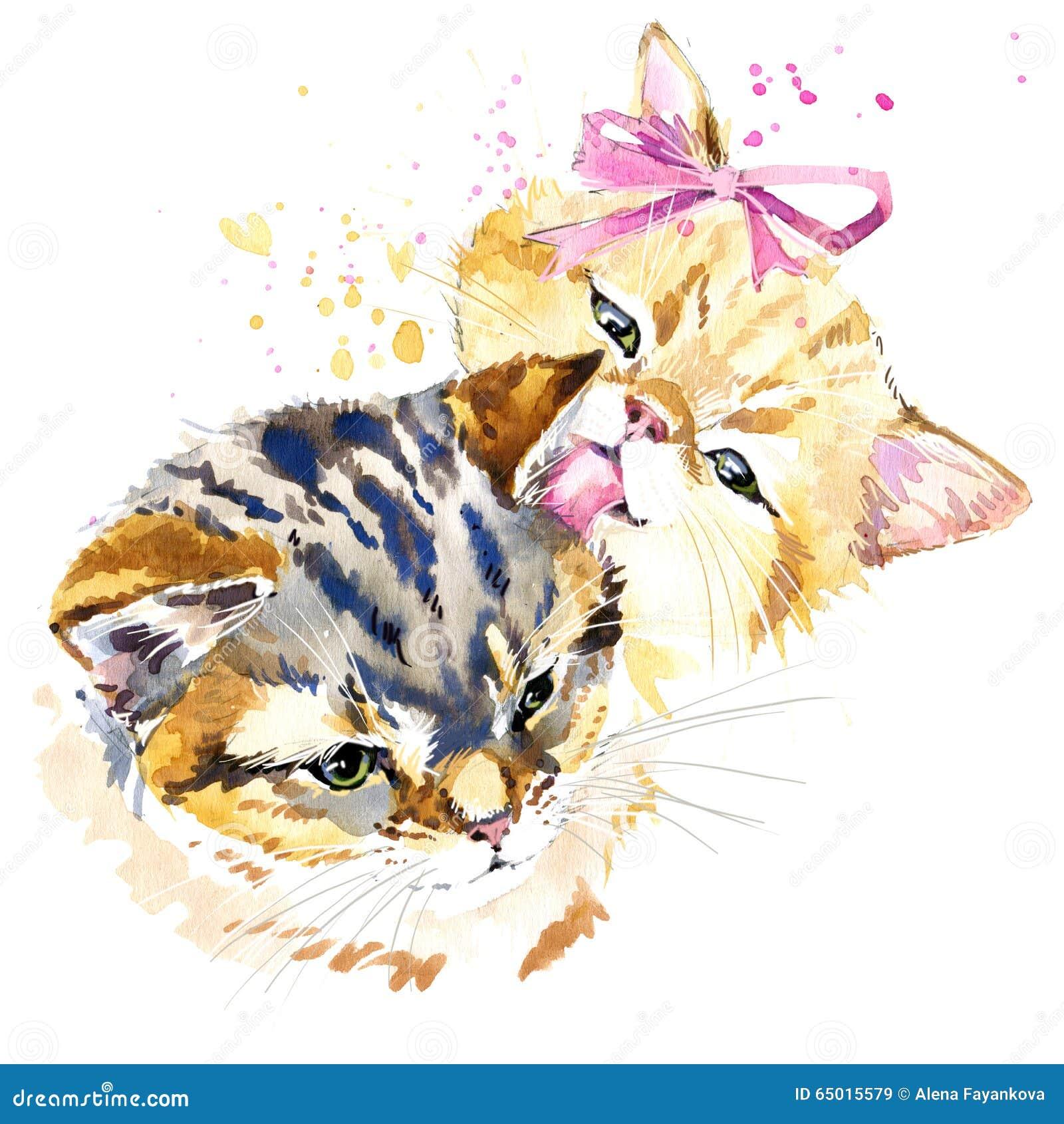 śliczne Kot Koszulki Grafika Akwarela Kota Rodziny