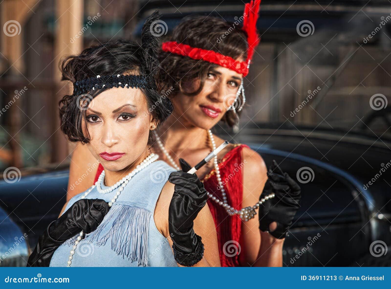 Śliczne Retro damy z rękawiczkami