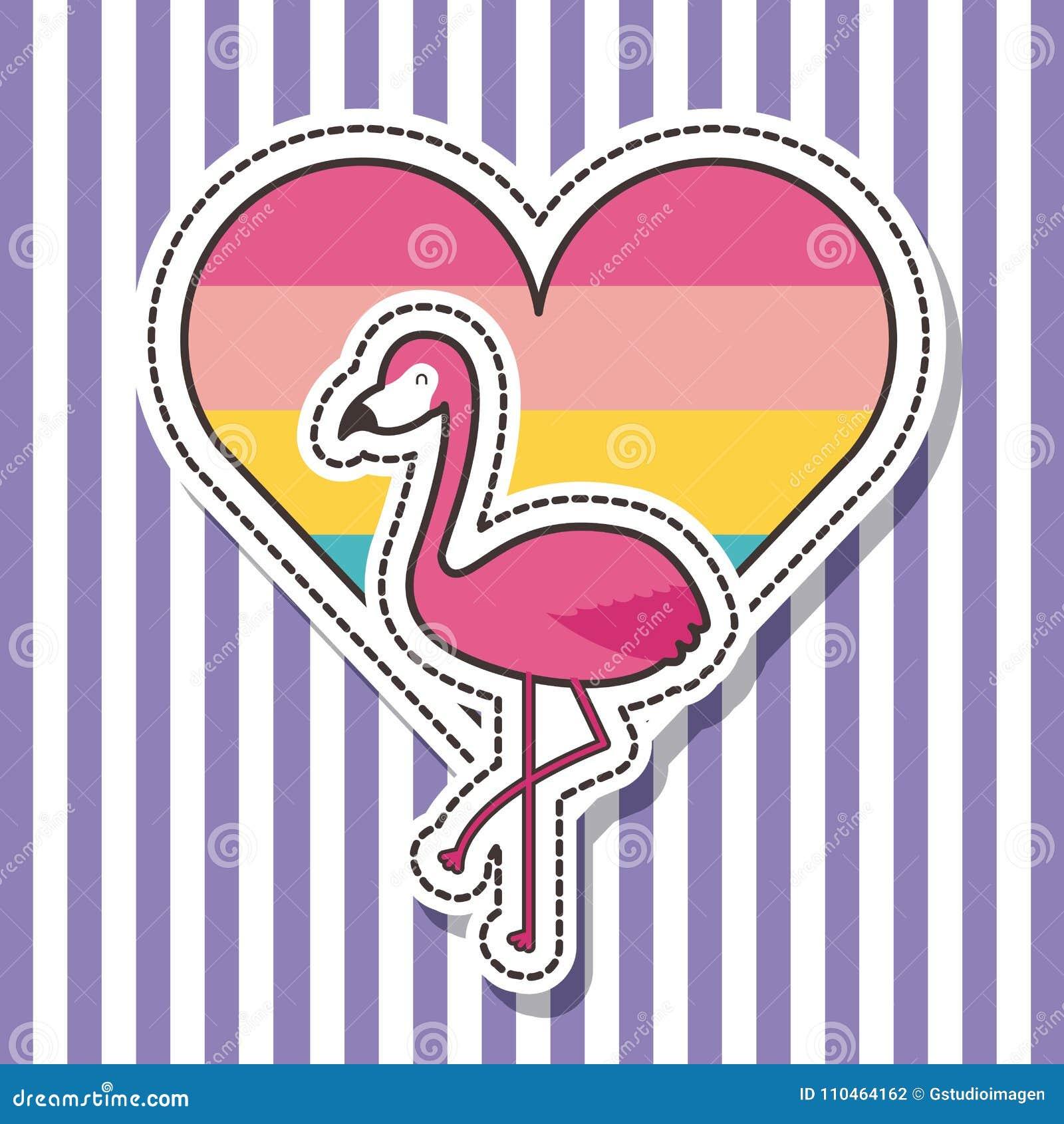 Ślicznego łaty odznaki flaminga ptasia kierowa moda