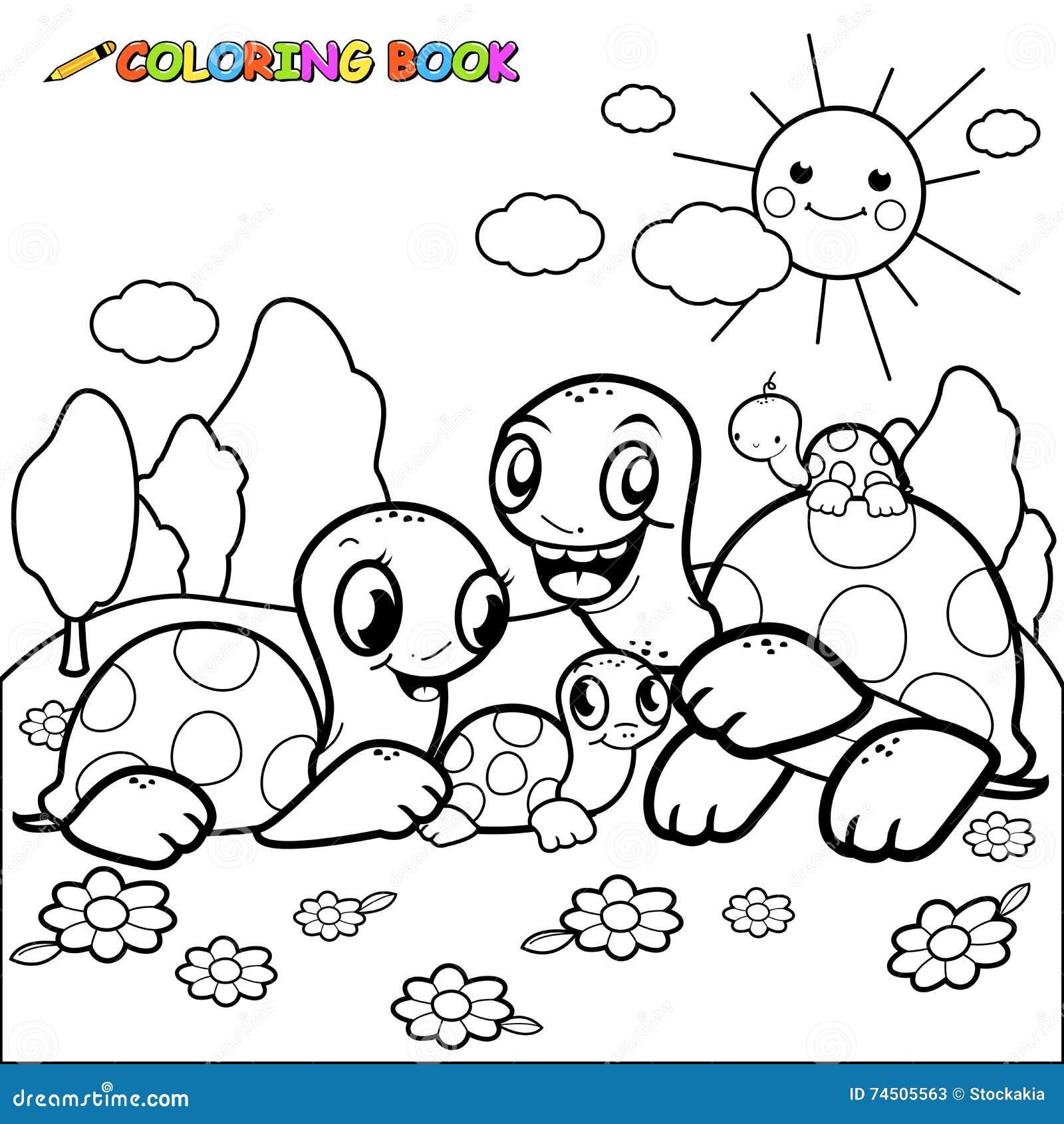 Ślicznego żółwia kolorystyki książki rodzinna strona