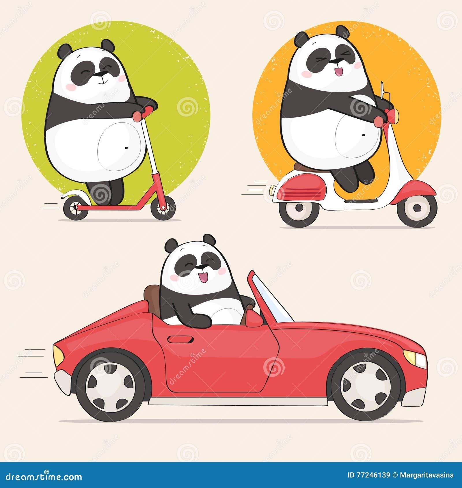 Ślicznego panda charakteru jeździecka hulajnoga i napędowy samochód