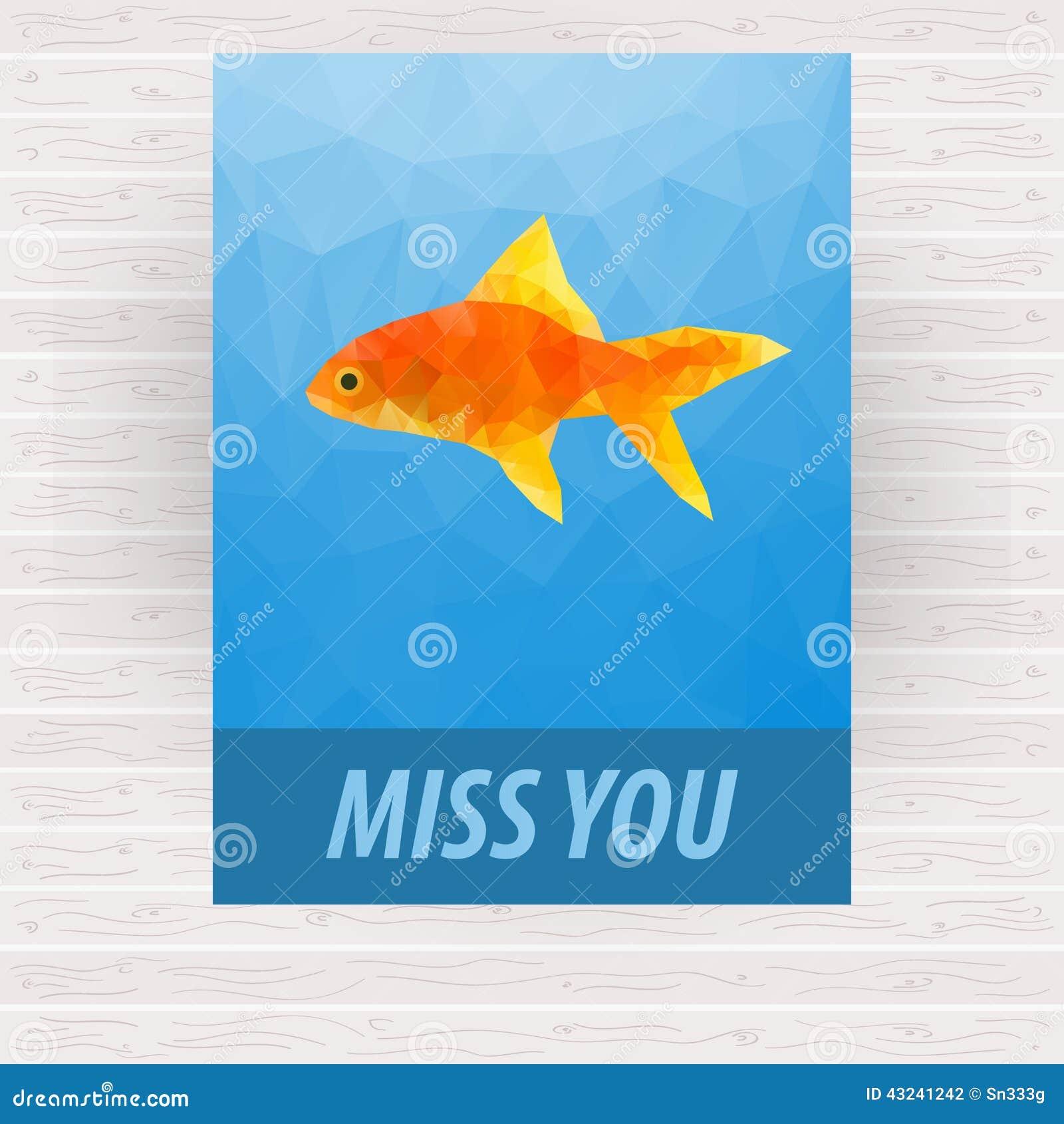 Ślicznego poligonalnego goldfish wektorowy projekt dla karty