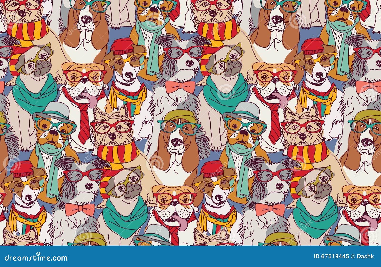 Ślicznego psiego moda modnisia bezszwowy wzór