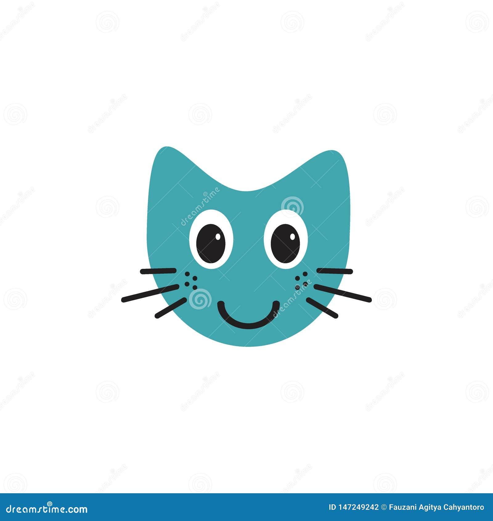 Ślicznego uśmiechniętego kota emoticon logo ilustracyjny pojęcie
